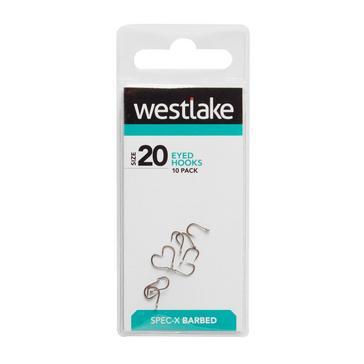 Silver Westlake Barbed Eyed Hooks (Size 20)