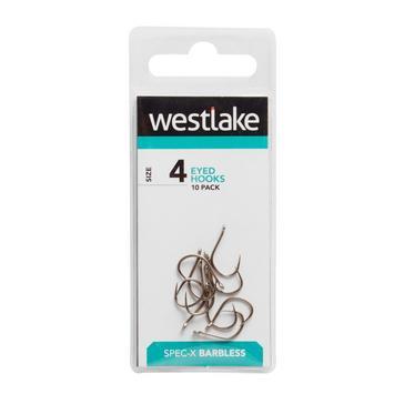 Silver Westlake Barbless Eyed Hooks (Size 4)