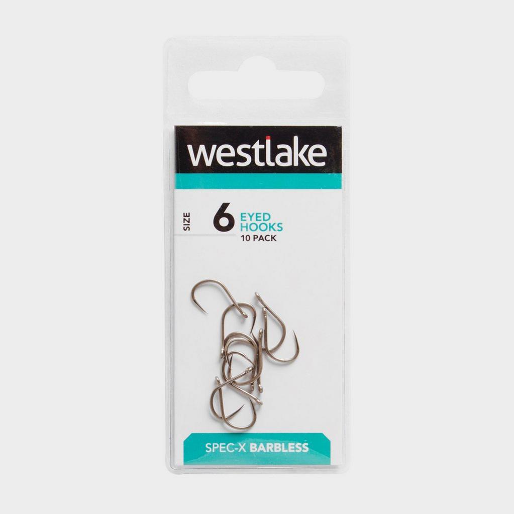 Silver Westlake Barbless Eyed Hooks (Size 6) image 1