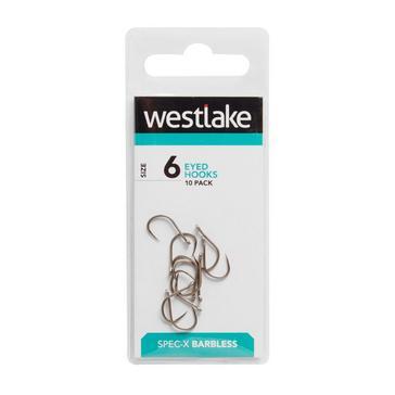 Silver Westlake Barbless Eyed Hooks (Size 6)