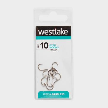 Silver Westlake Barbless Eyed Hooks (Size 10)