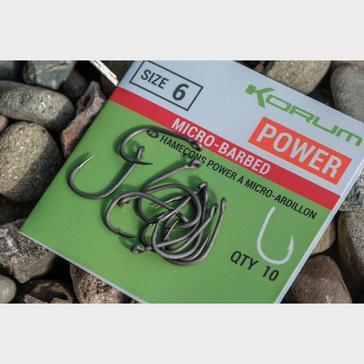 Black KORUM Xpert Power Hooks Barbed Size 6