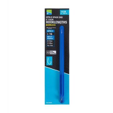 Blue PRESTON GPM-B Spade End Barbless Hooklength Size 12