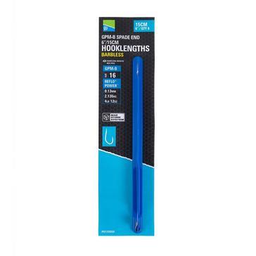 Blue PRESTON GPM-B Spade End Barbless Hooklength Size 16