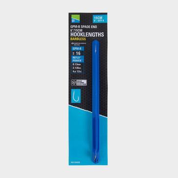 Blue PRESTON GPM-B Spade End Barbless Hooklength Size 18