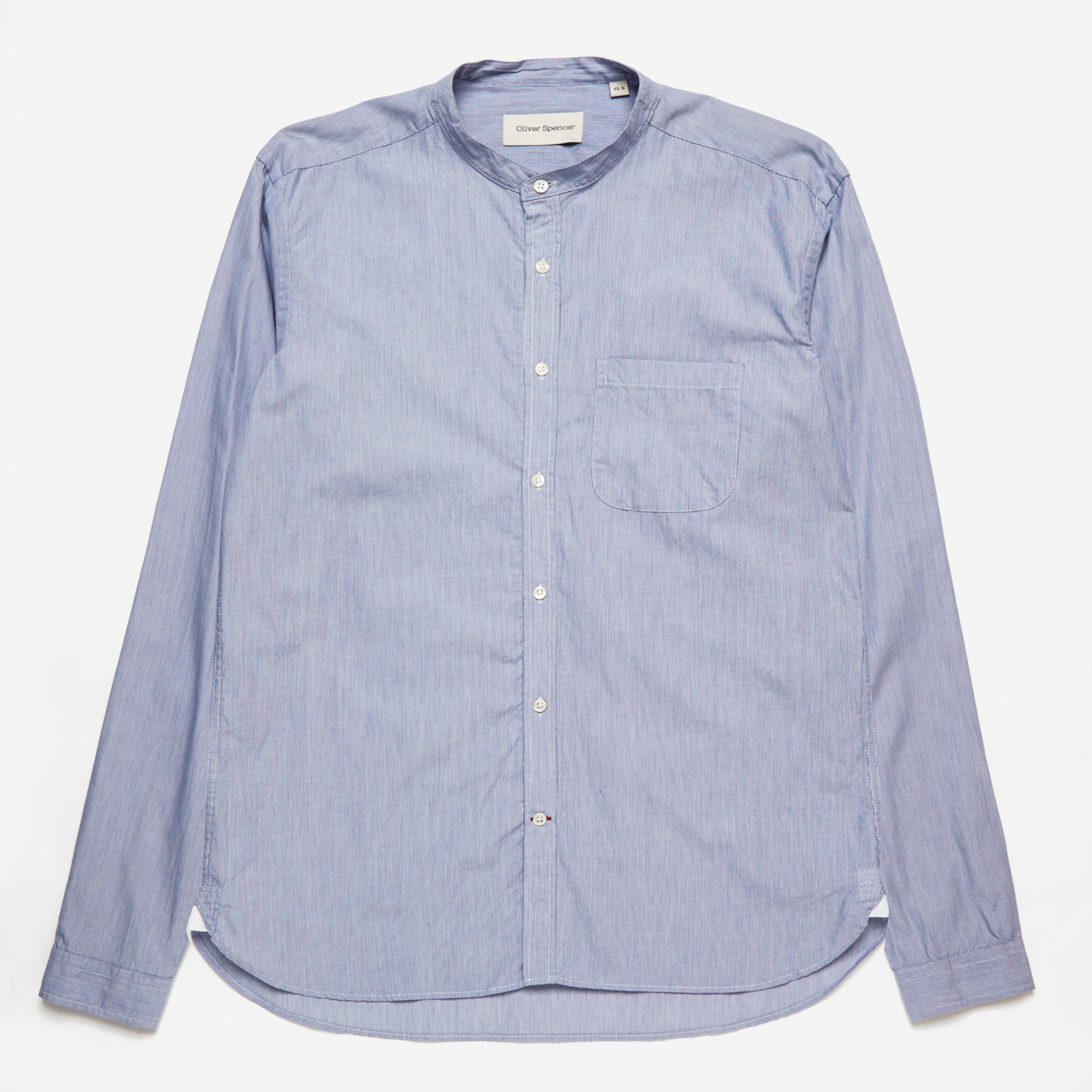 Oliver Spencer Grandad Shirt Lancaster Blue