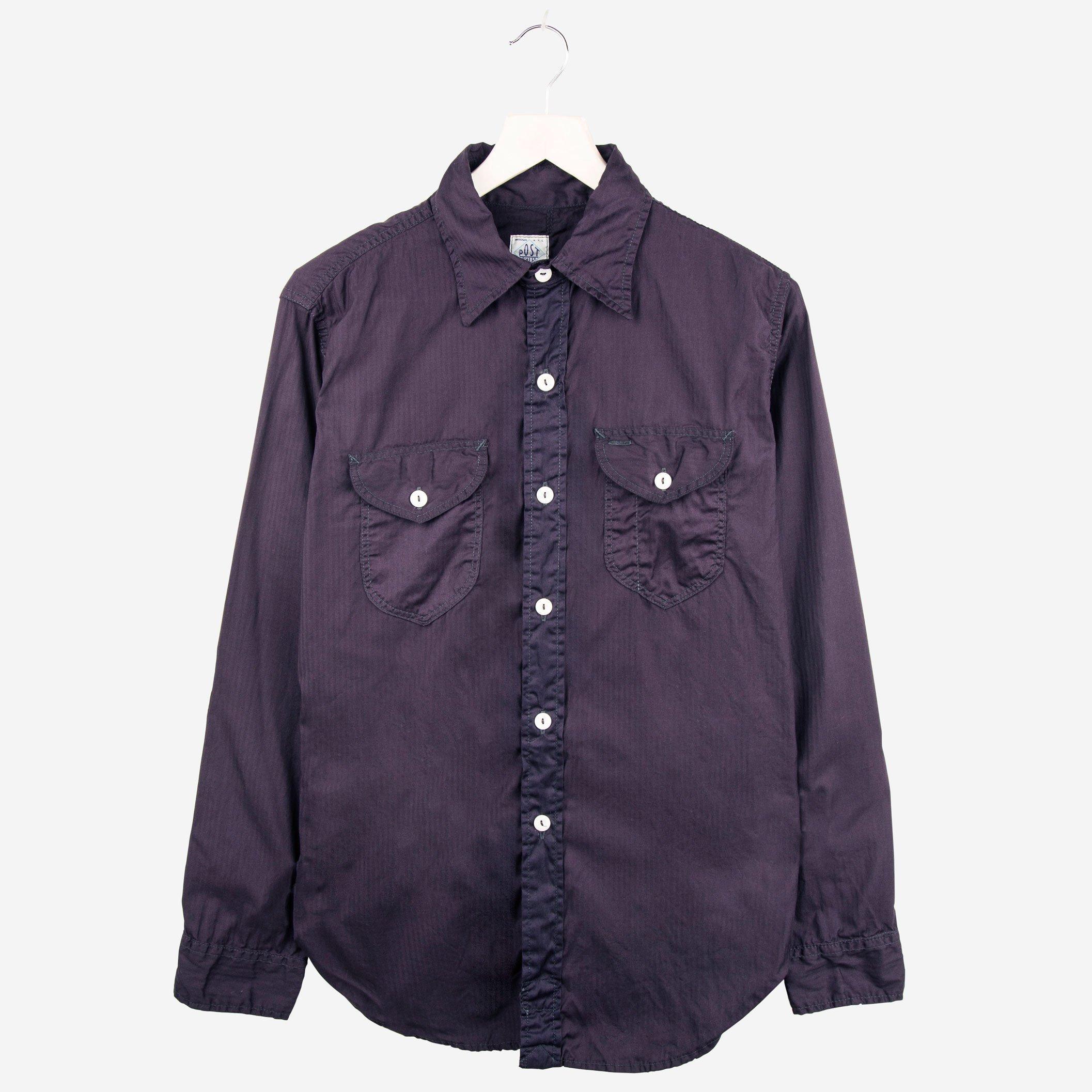 Post Overalls Very Lee Herring bone shirt Navy
