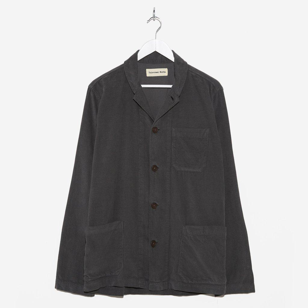 Universal Works Fine Cord Shawl Collar Overshirt Granite