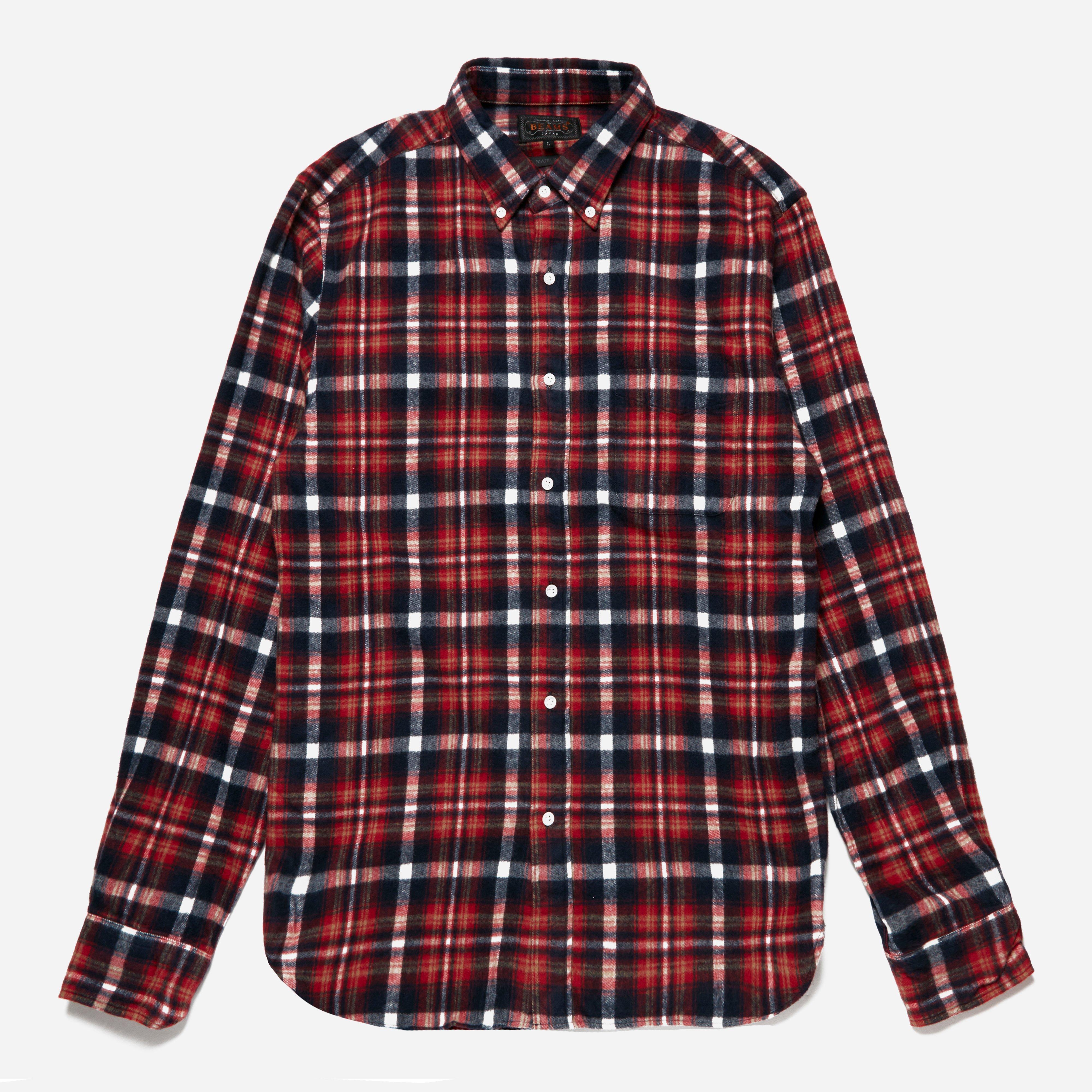 Beams Plus Button Down Shaggy Check Shirt