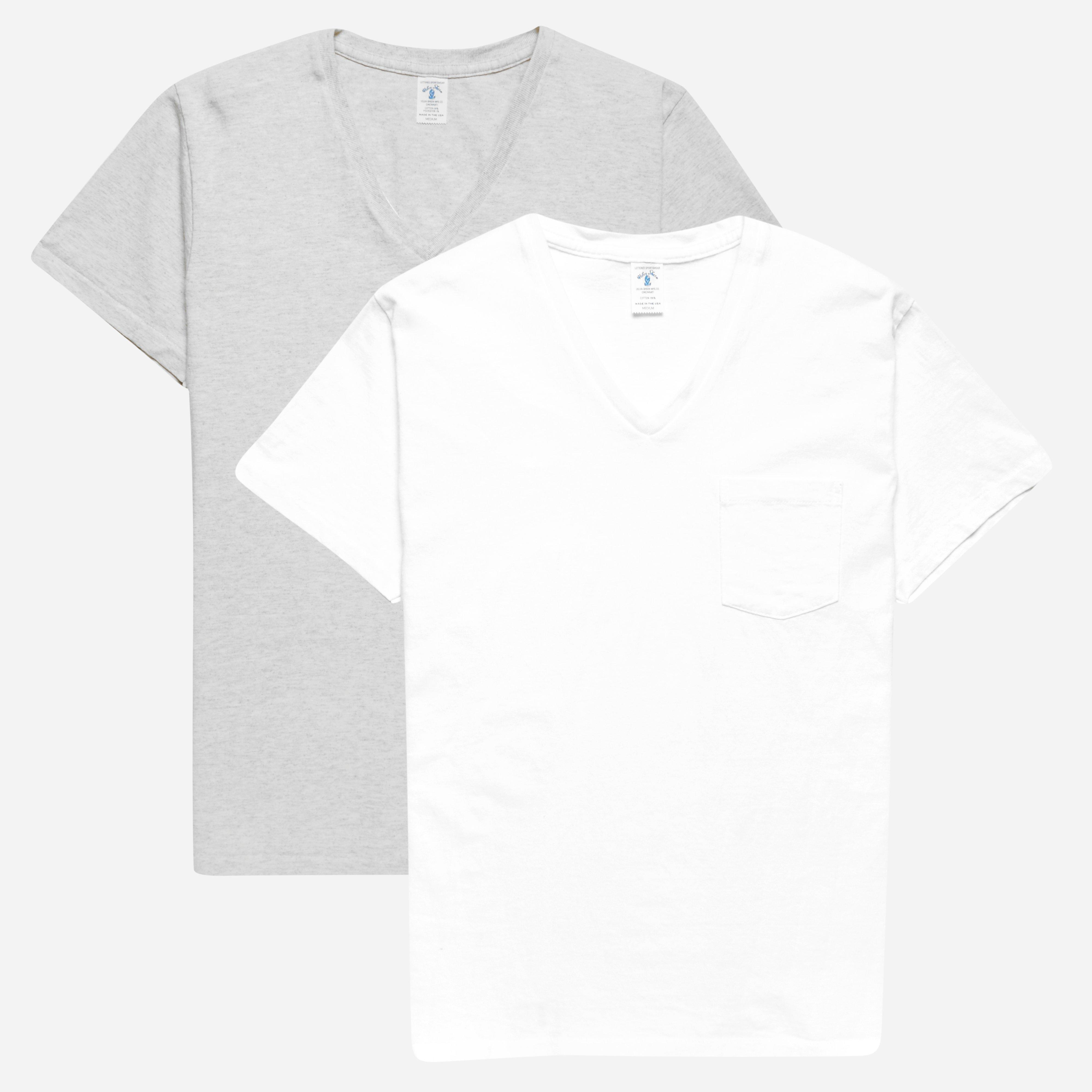 Velva Sheen V-neck 2 Pac Pocket T-shirts White Oatmeal