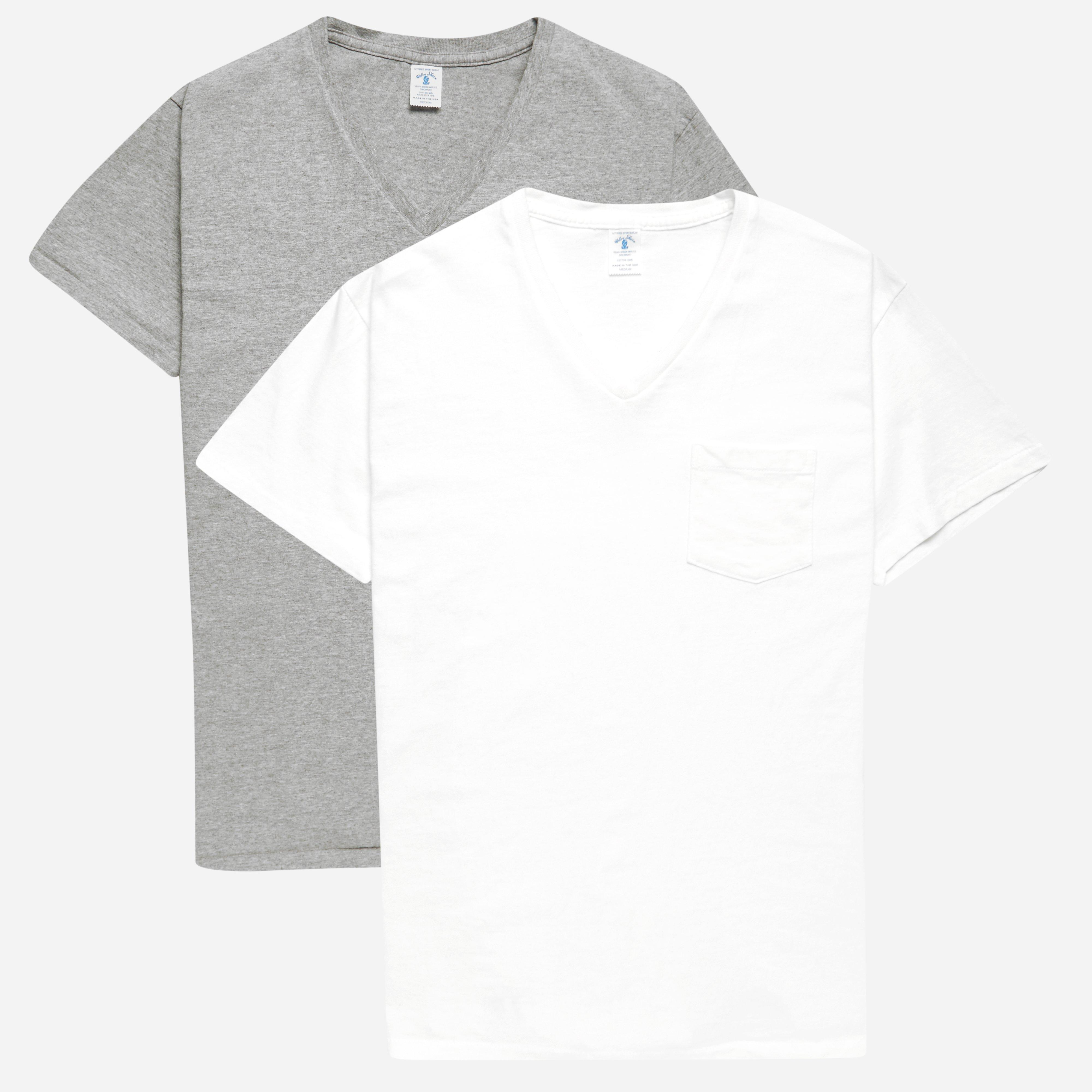 Velva Sheen V-neck 2 Pac Pocket T-shirts White Grey