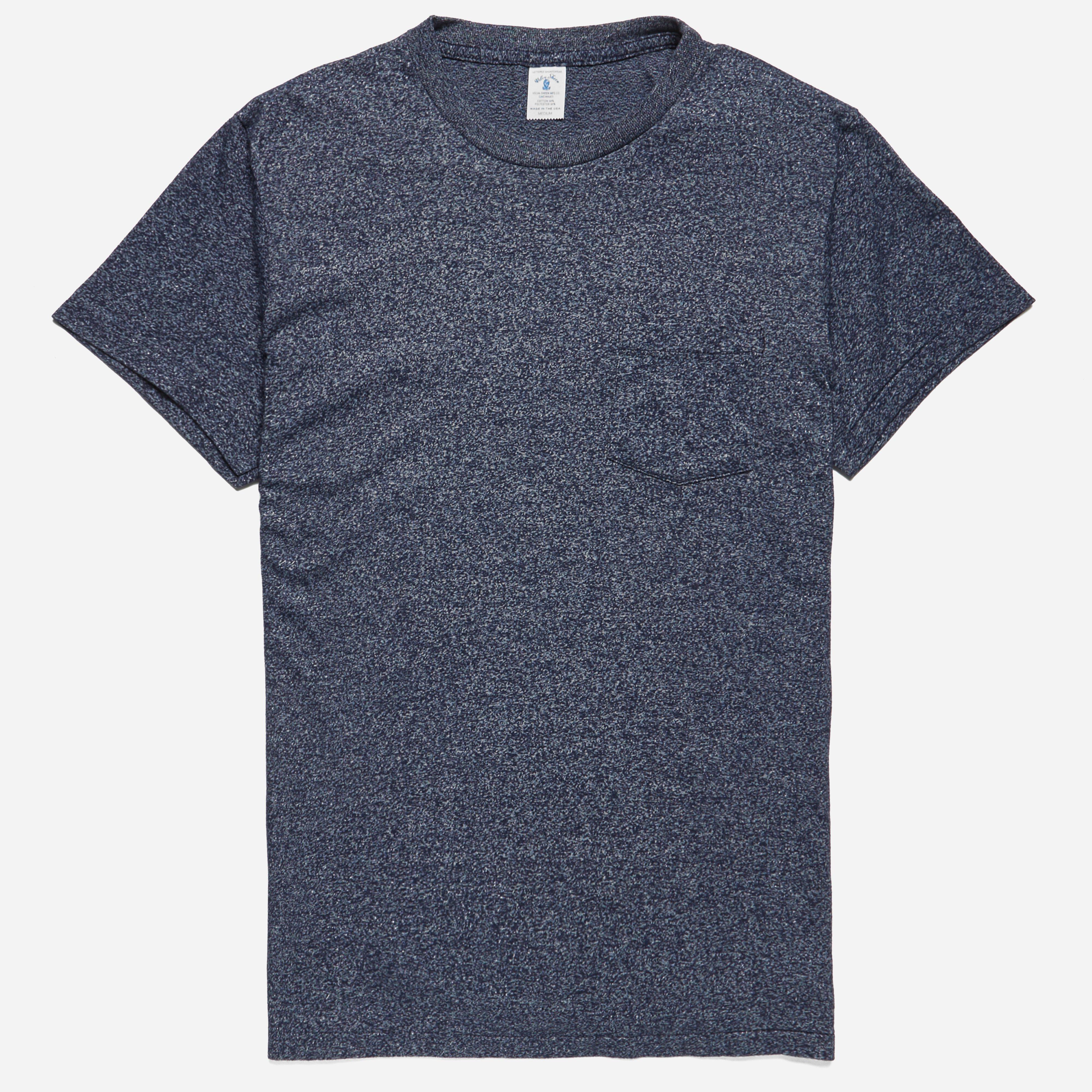 Velva Sheen Crew Neck Pocket T-shirt Heather Navy