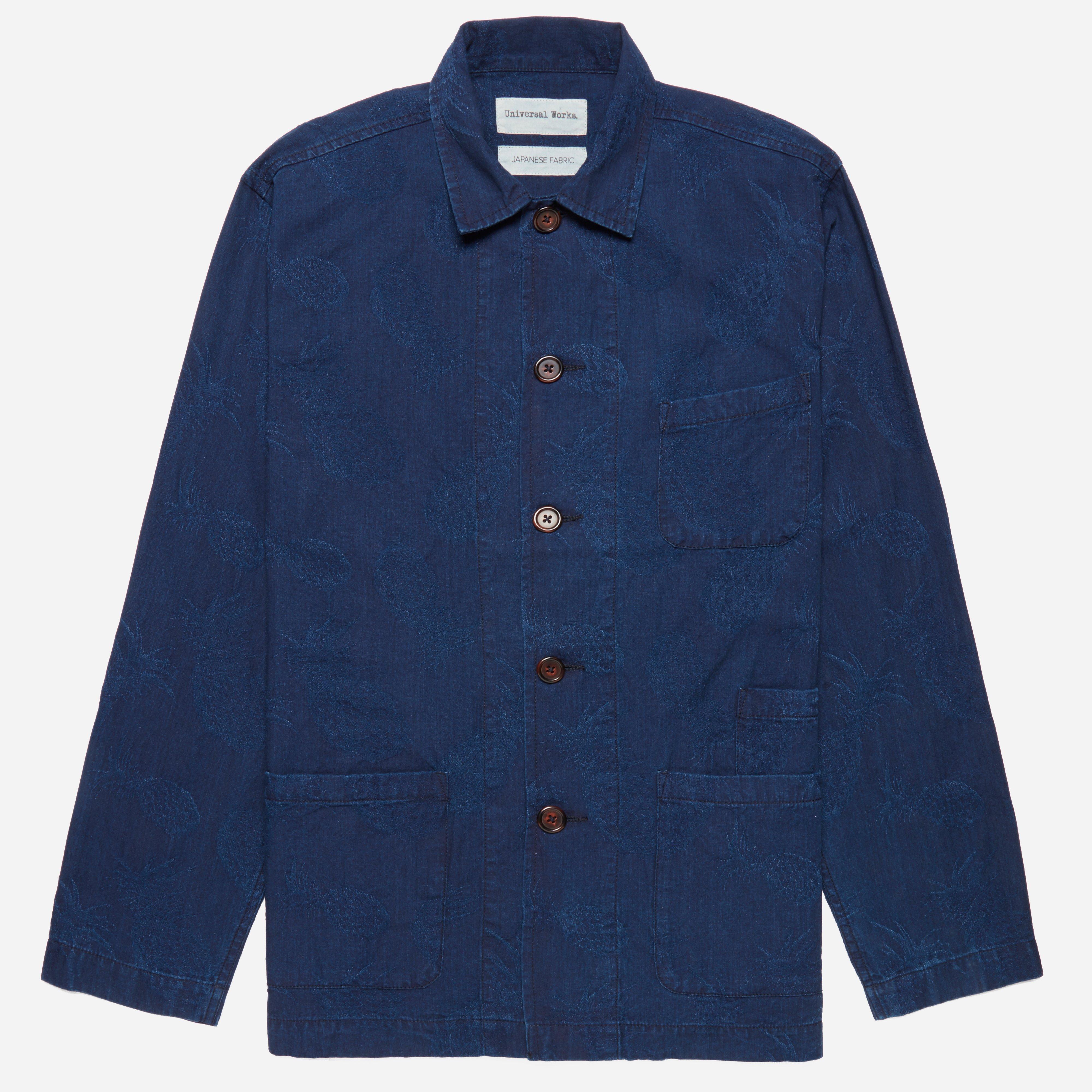 Universal Works Indigo Cotton Bakers Overshirt