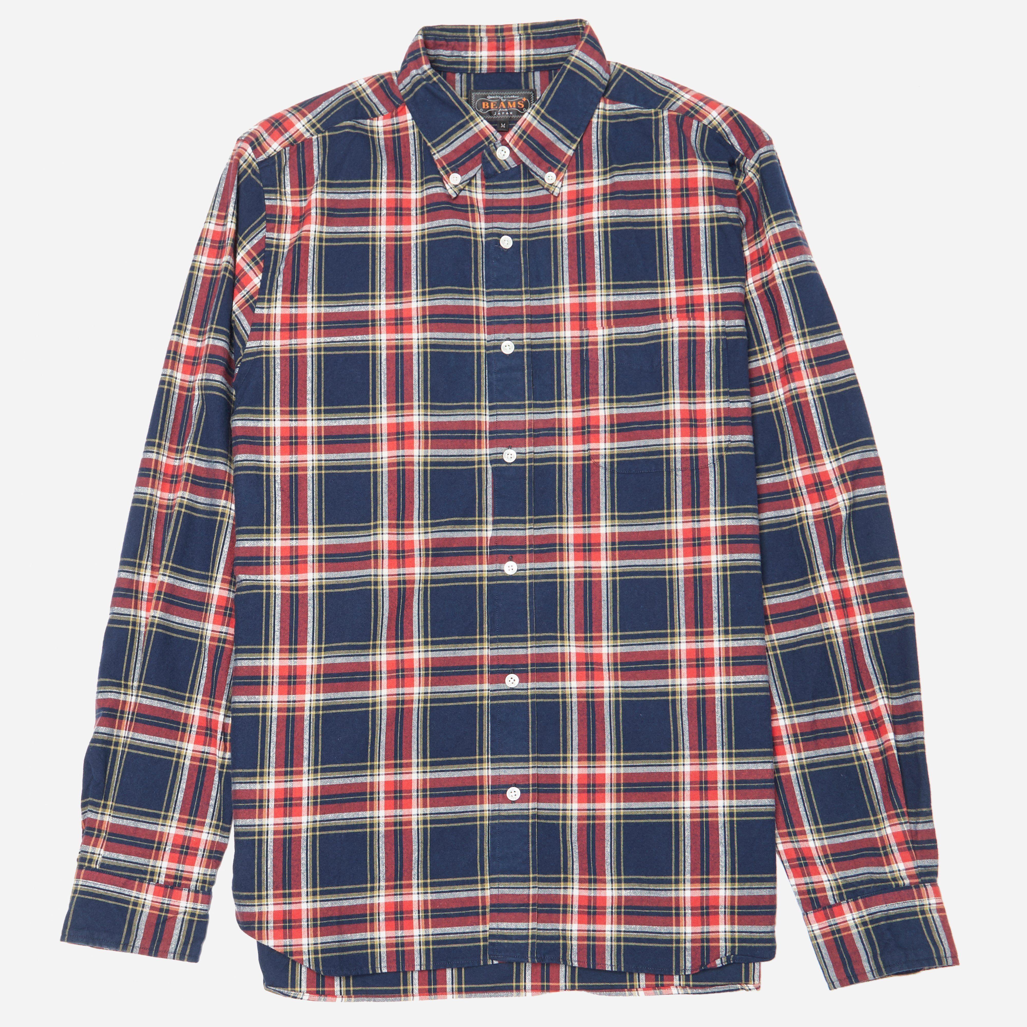 Beams Plus Button Down Multi Check Shirt