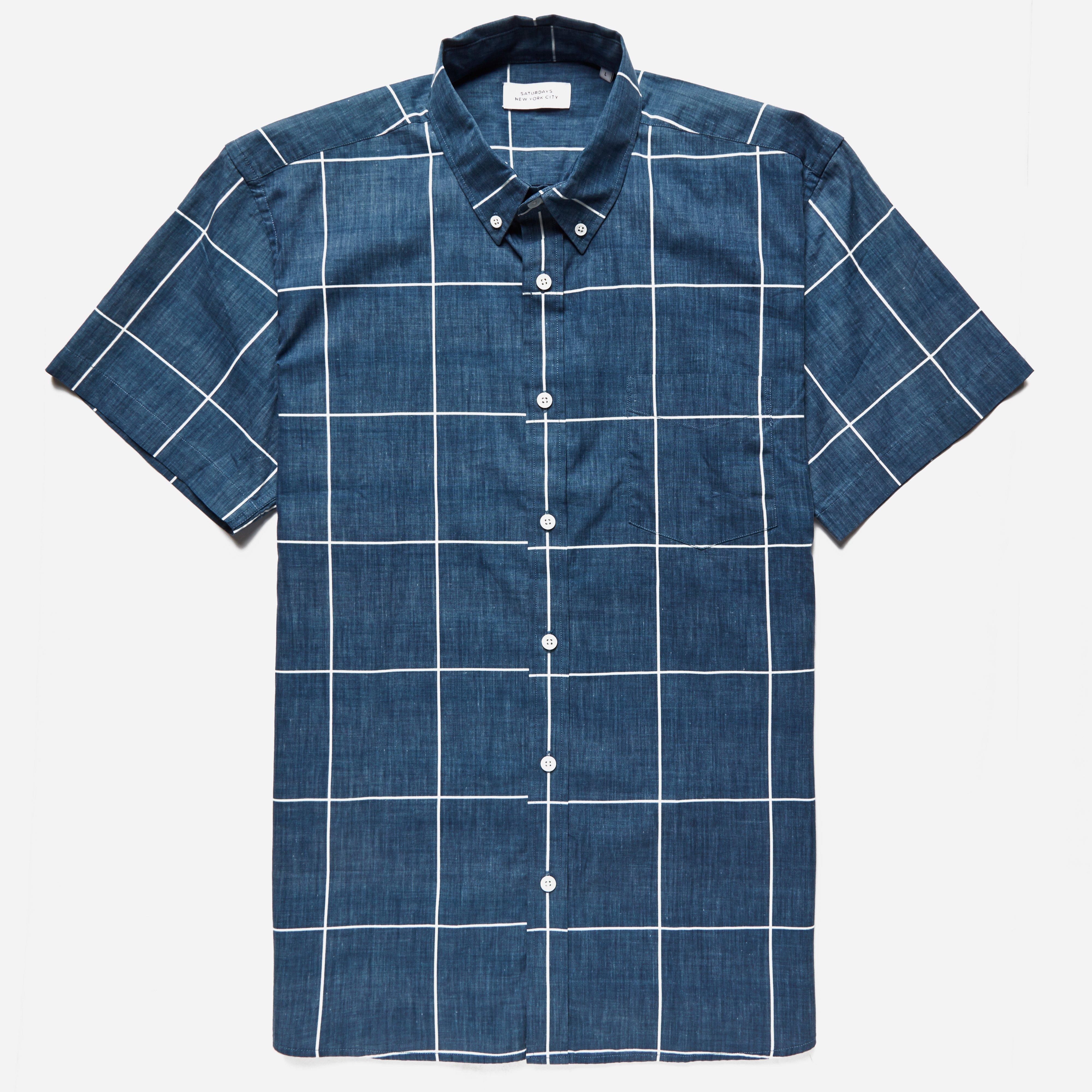 Saturdays Surf NYC Esquina Reverse Print S/S Shirt Blue