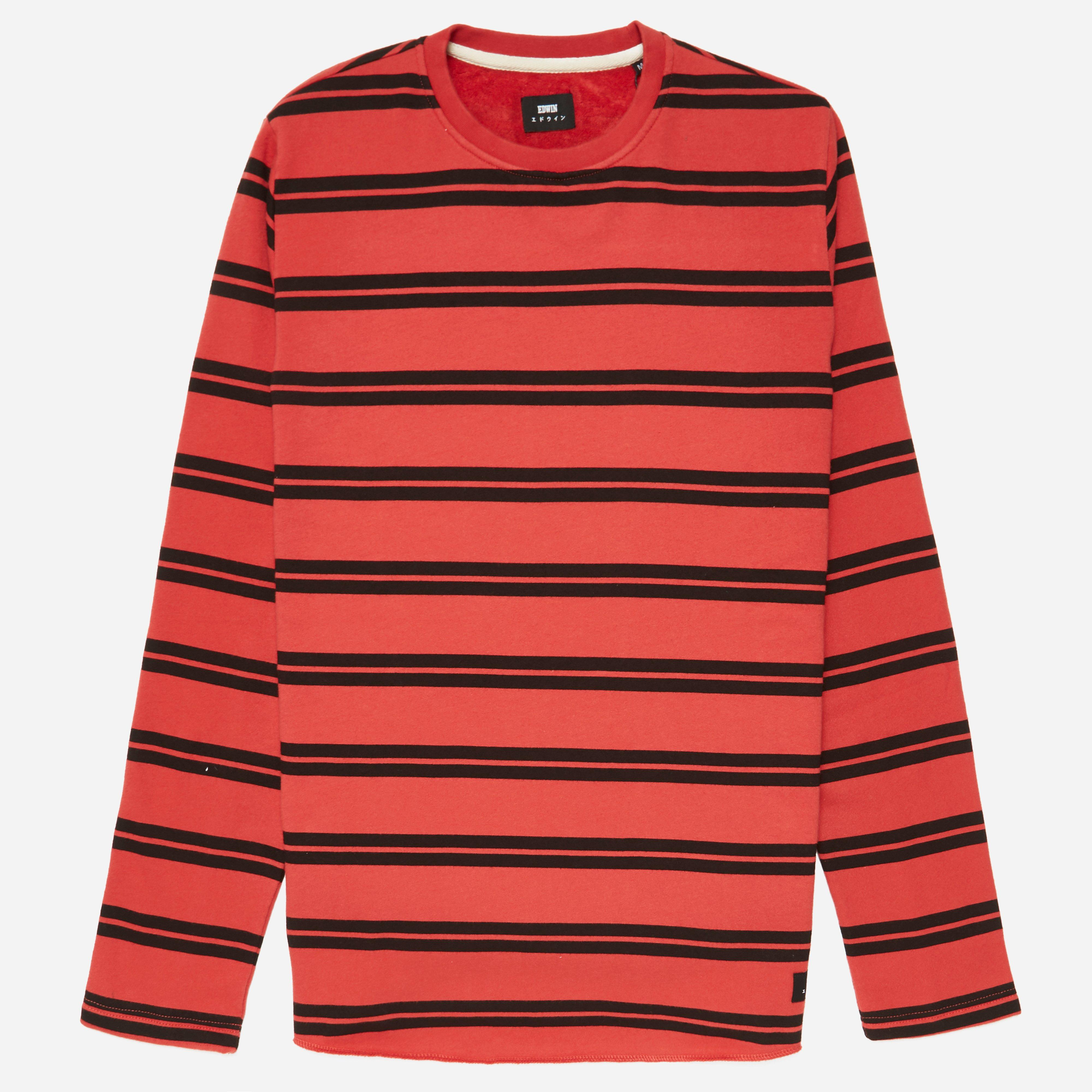 Edwin Terry Striped Crew Sweatshirt