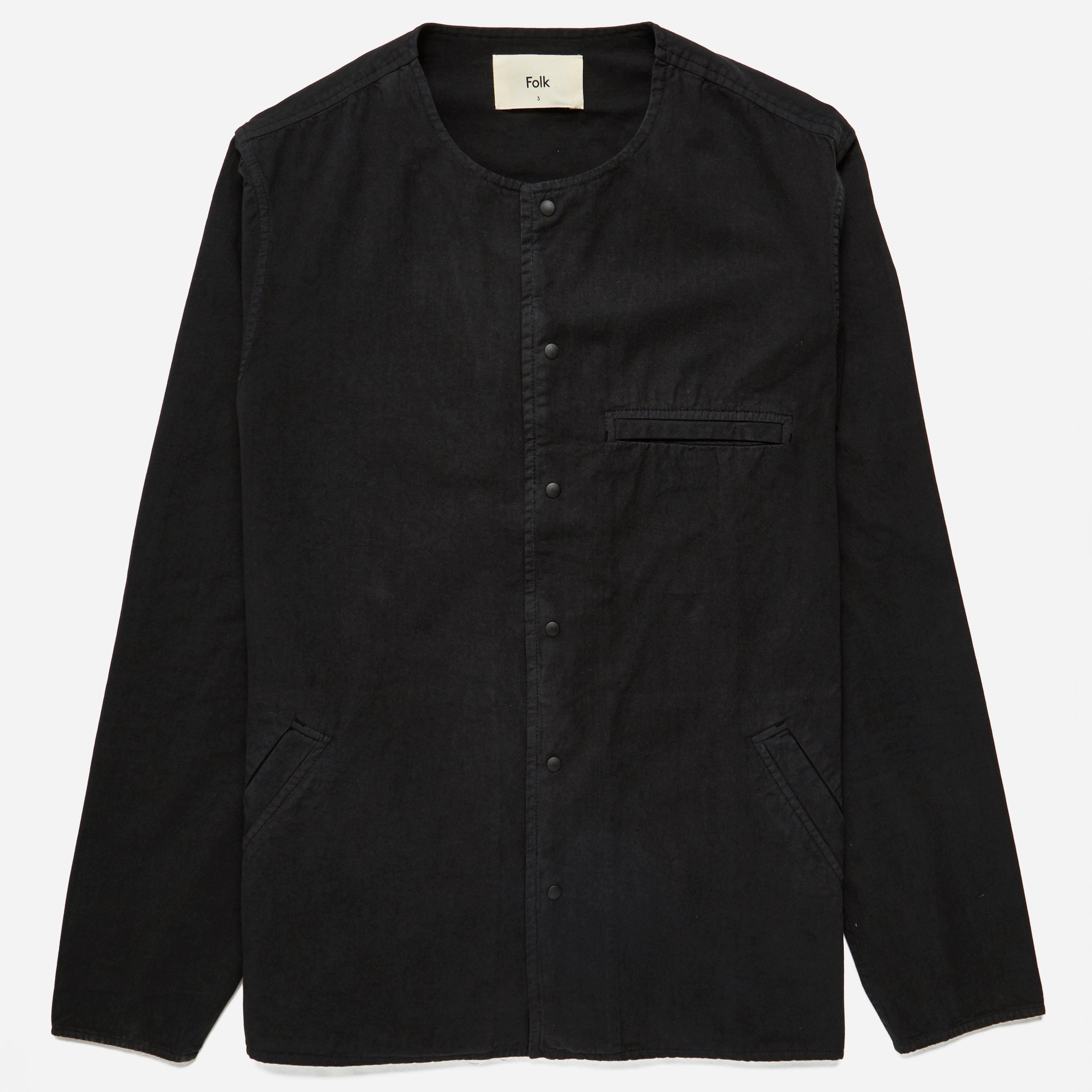 Folk Collarless Pop Stud Shirt