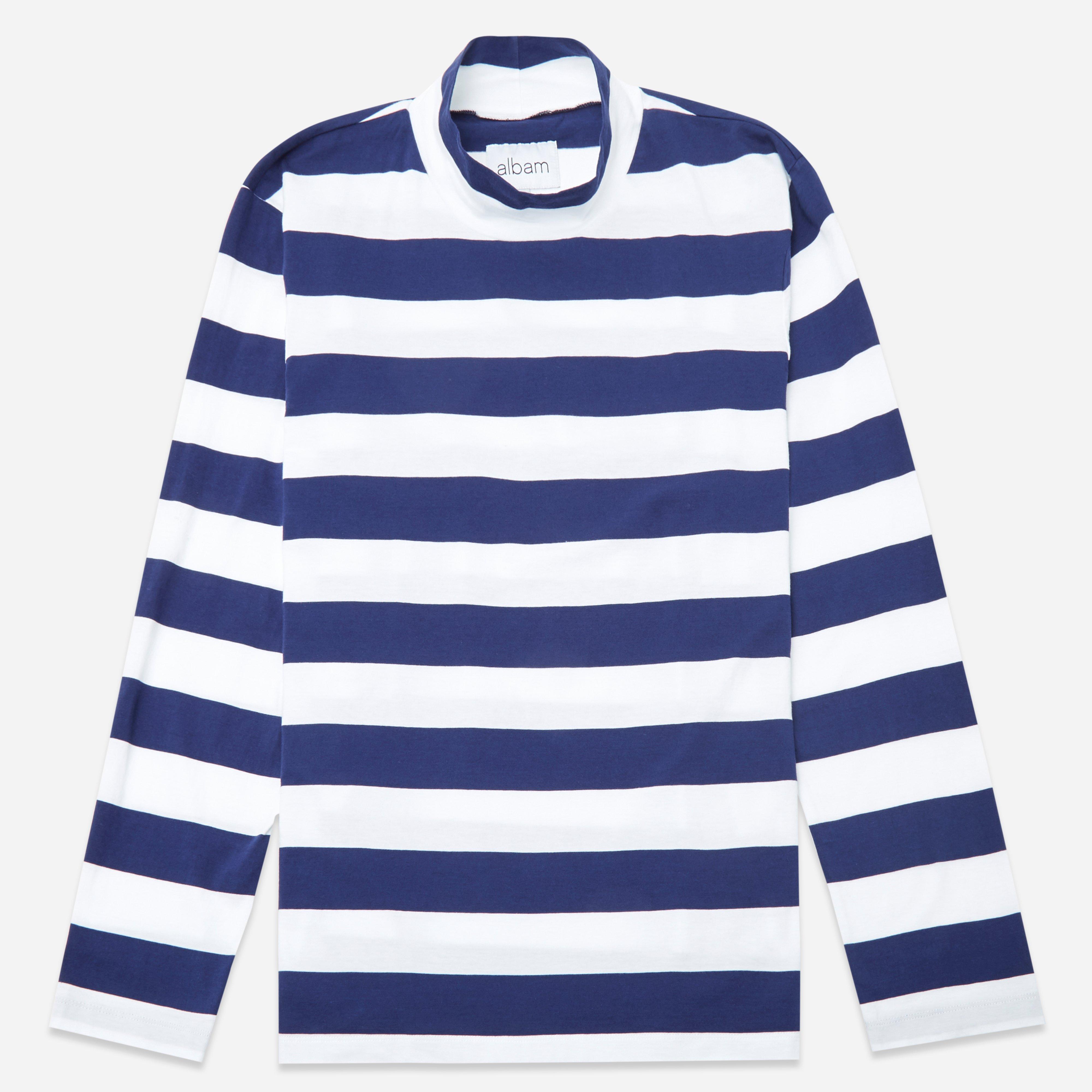 Albam Striped Funnel Neck Long Sleeve T-Shirt
