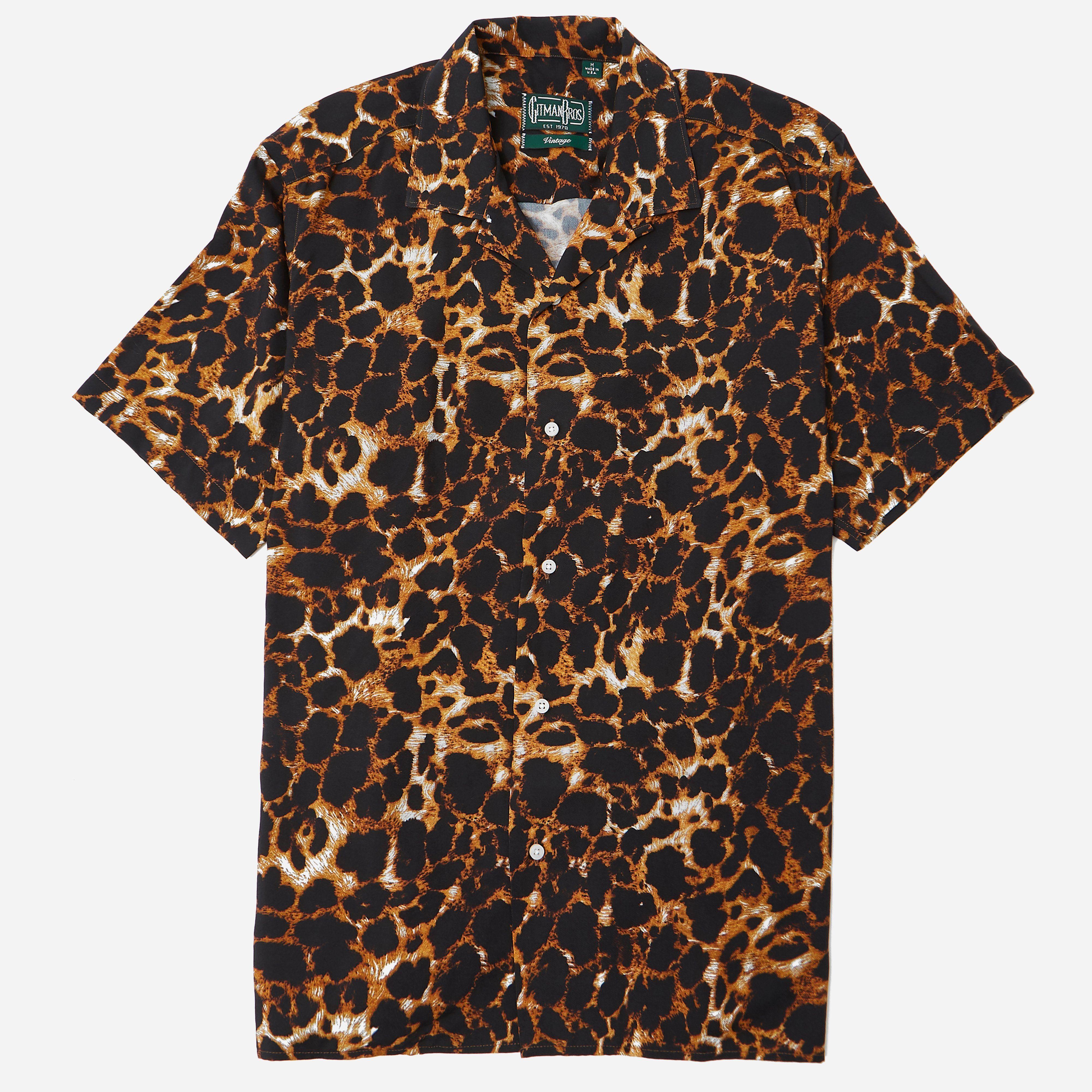 Gitman Vintage Rayon Leopard Camp Shirt