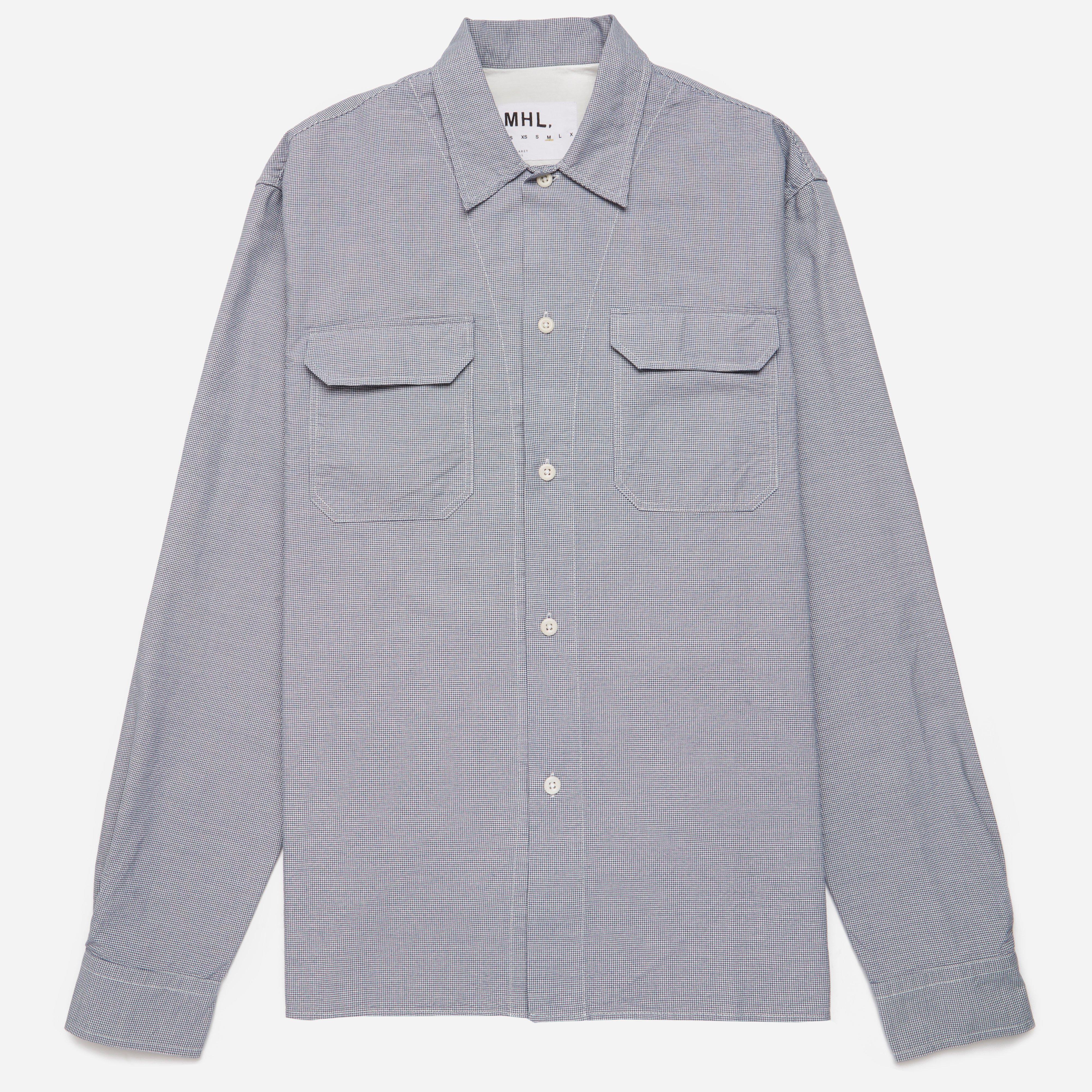 MHL Micro Puppytooth Cotton Rever Collar Shirt