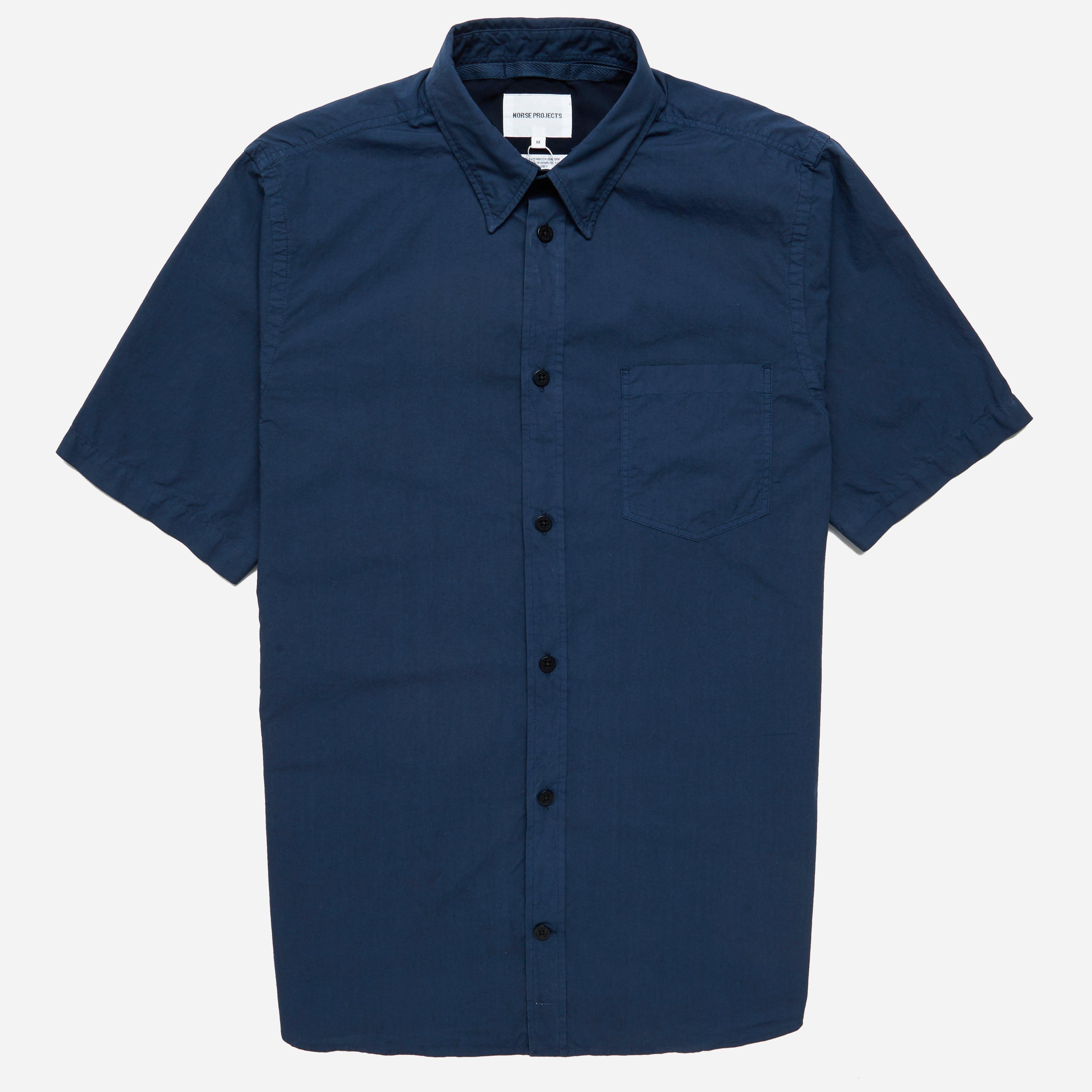 Norse Projects Anton Garment Dyed Poplin Short Sleeve Shirt