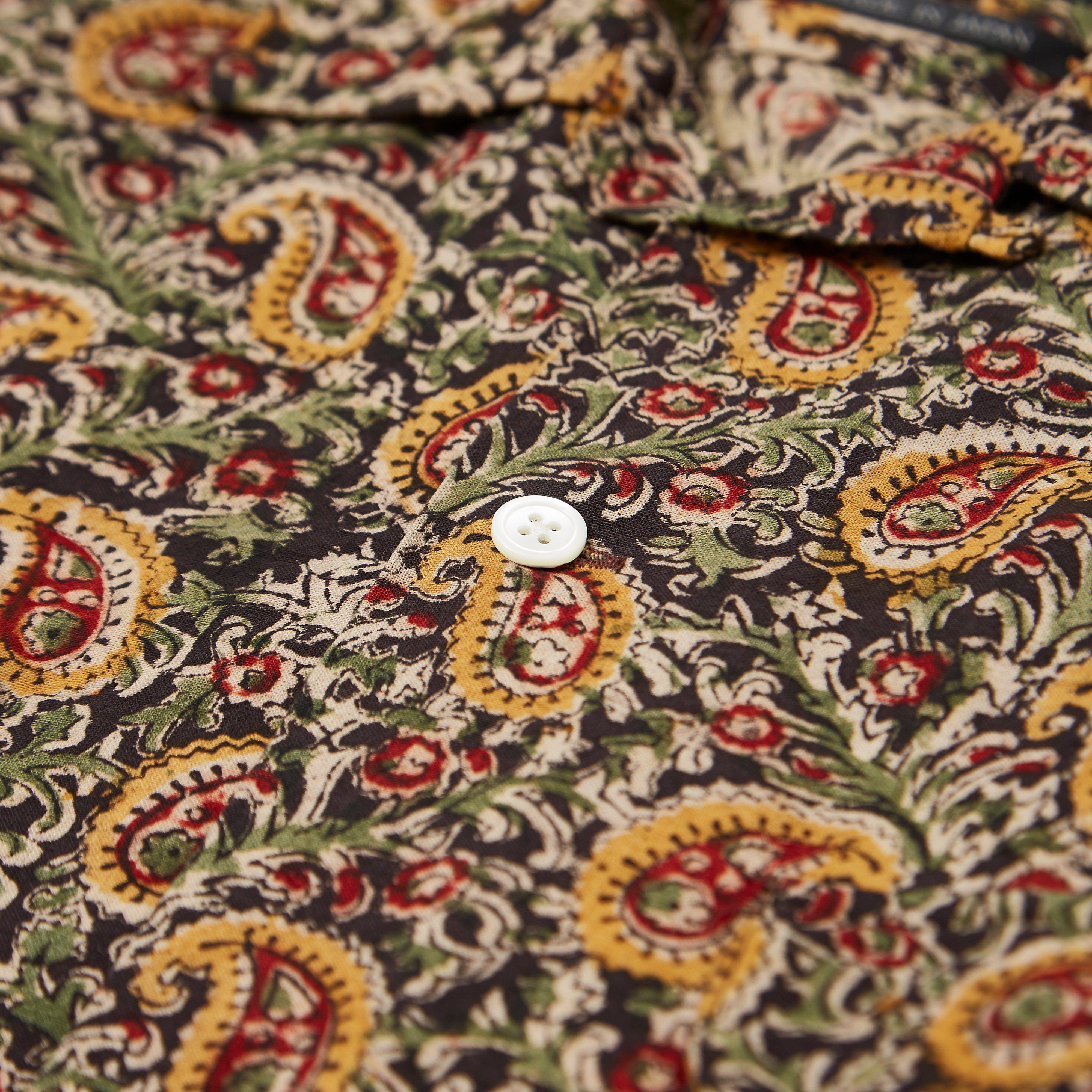 Beams Plus Open Collar Indian Block Print Shirt