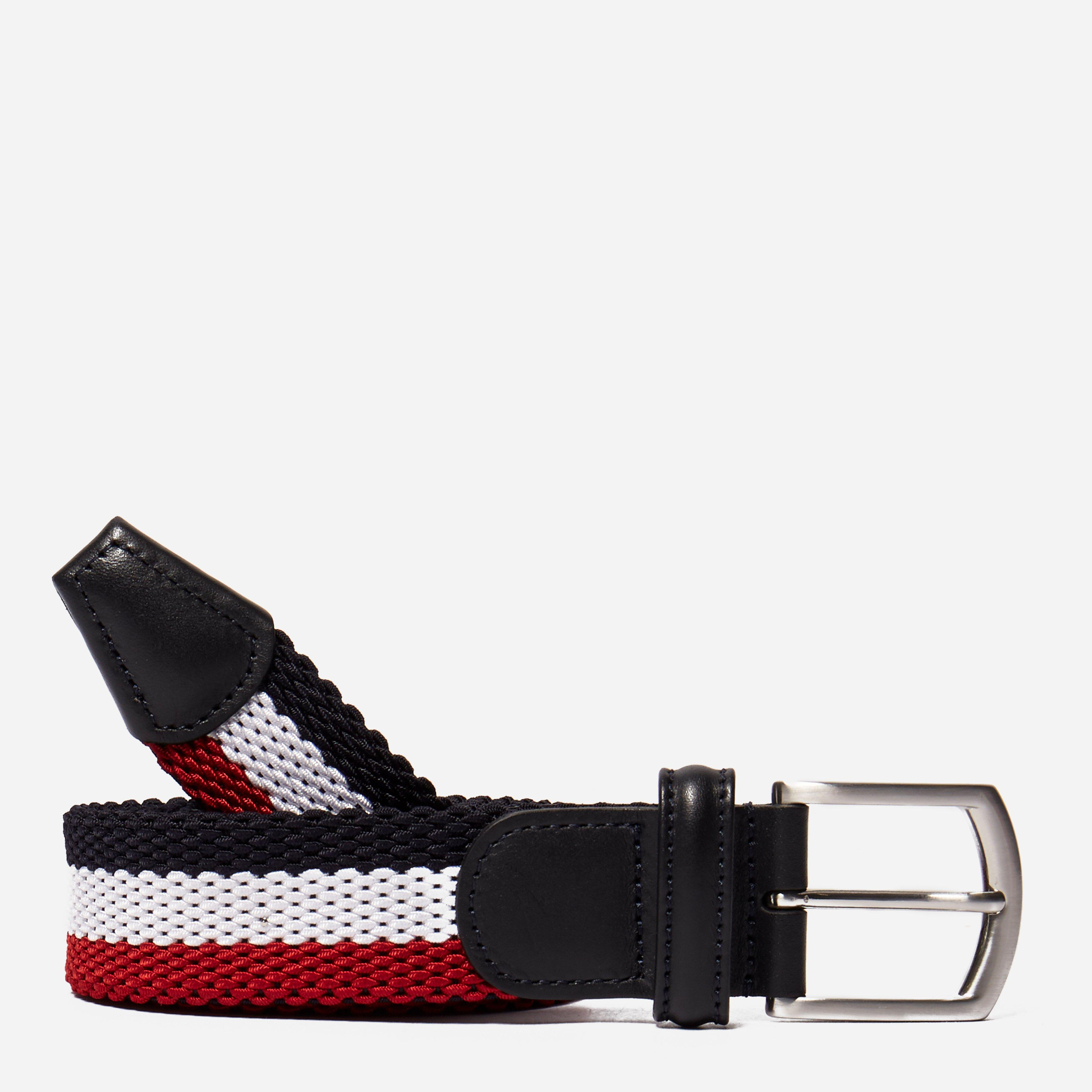 Andersons Leather Trimmed Striped Canvas Belt
