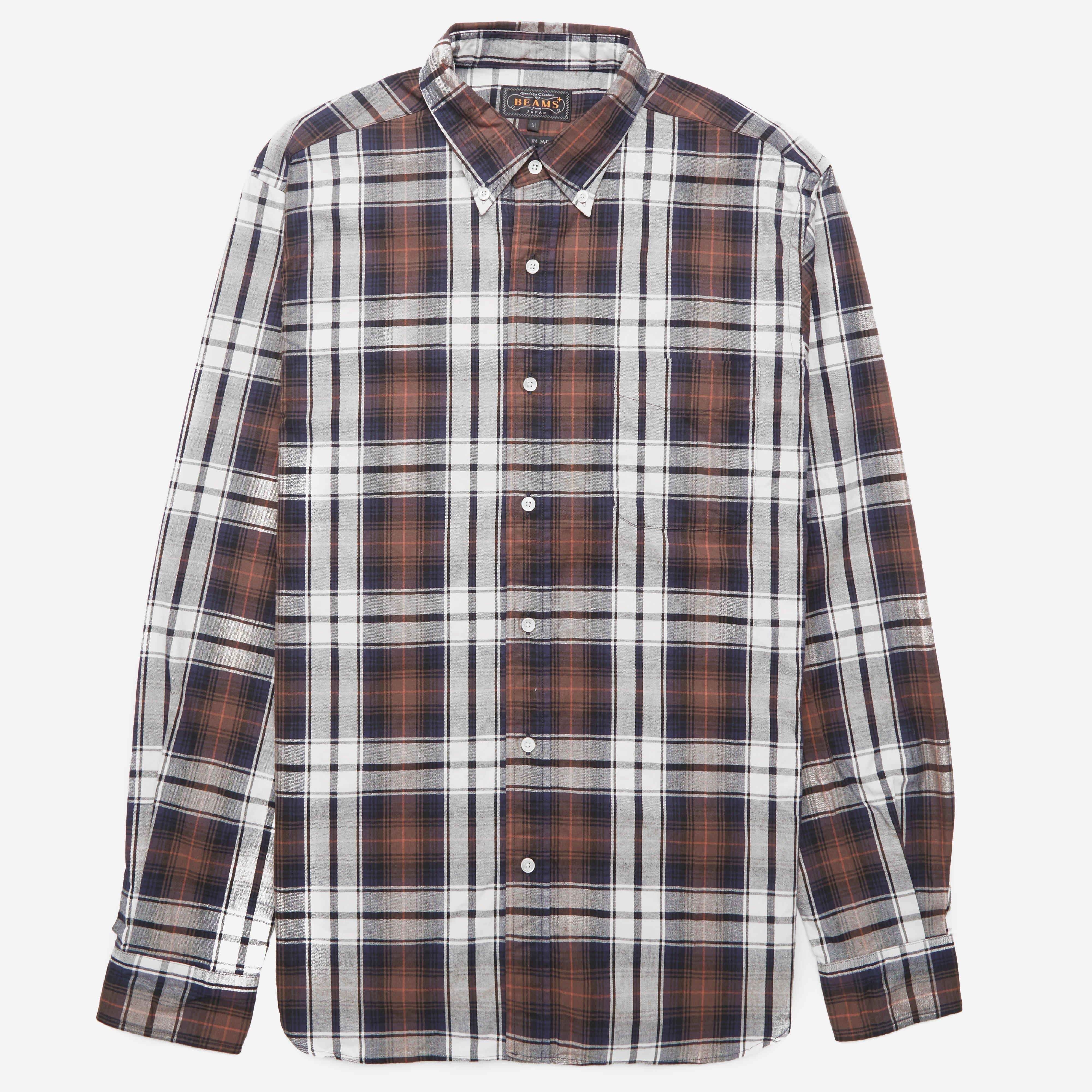 Beams Plus Button Down Twill Check Shirt