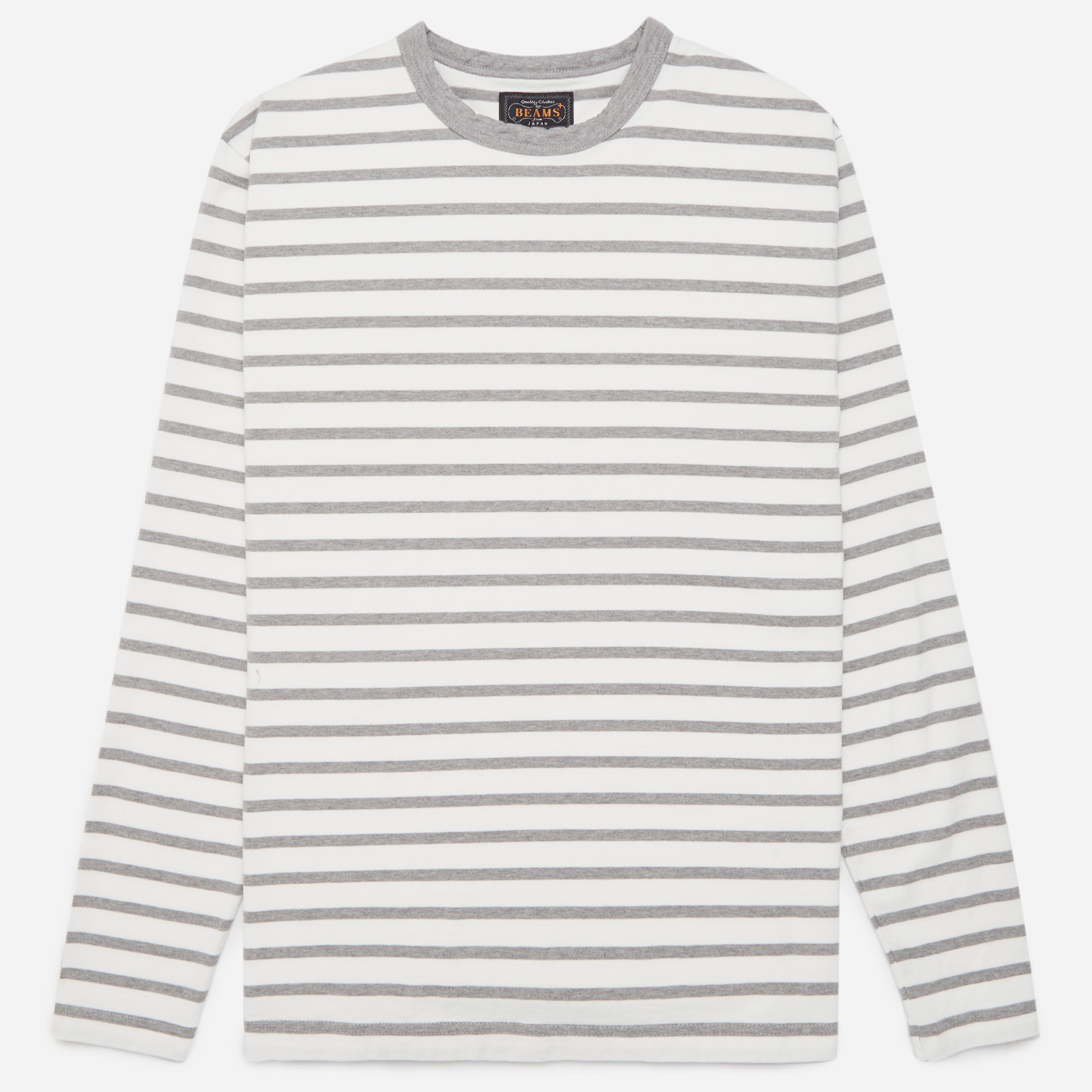 Beams Plus 25/2 Jersey Border Long Sleeve T-shirt
