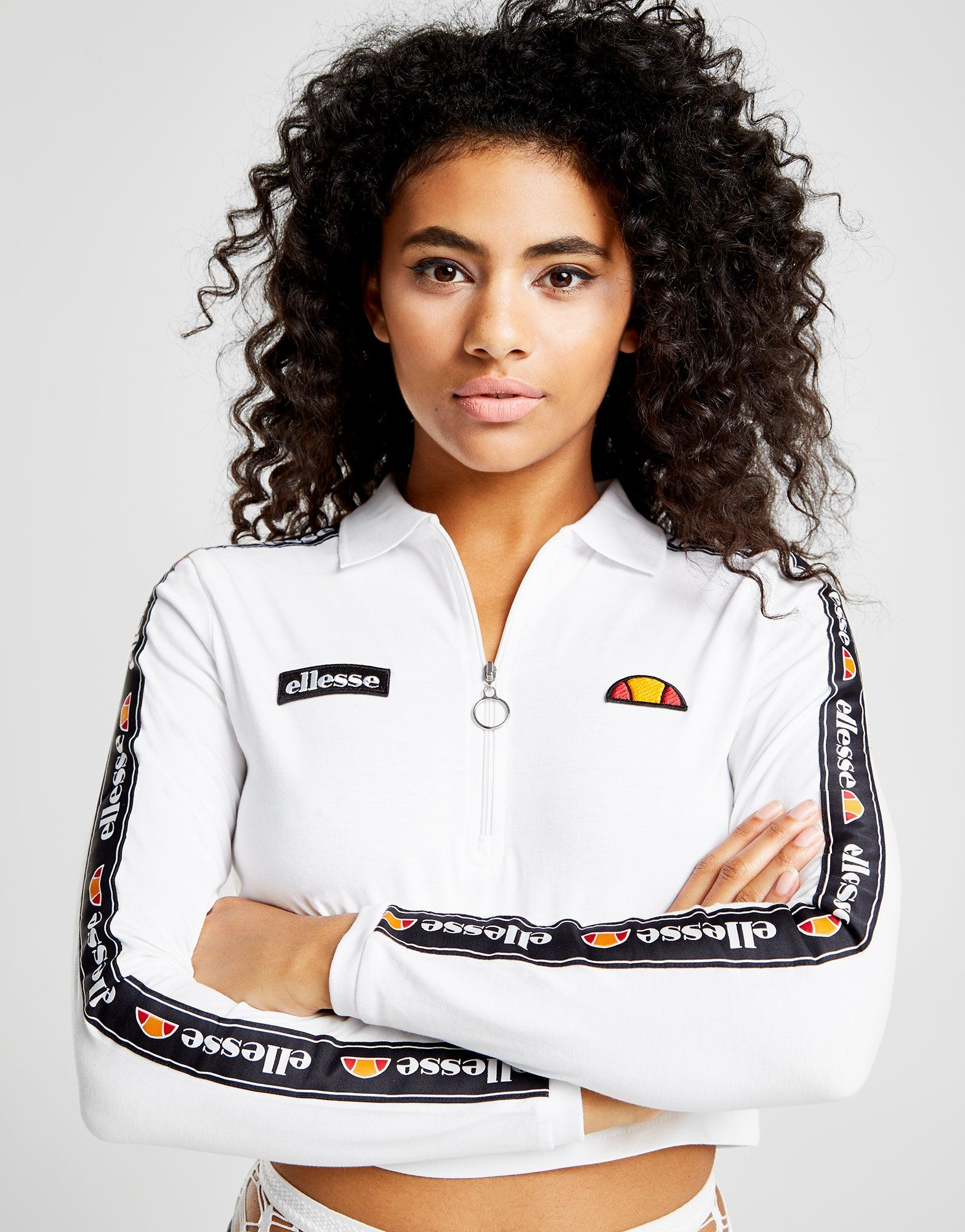 Ellesse Long Sleeve Crop Polo Top