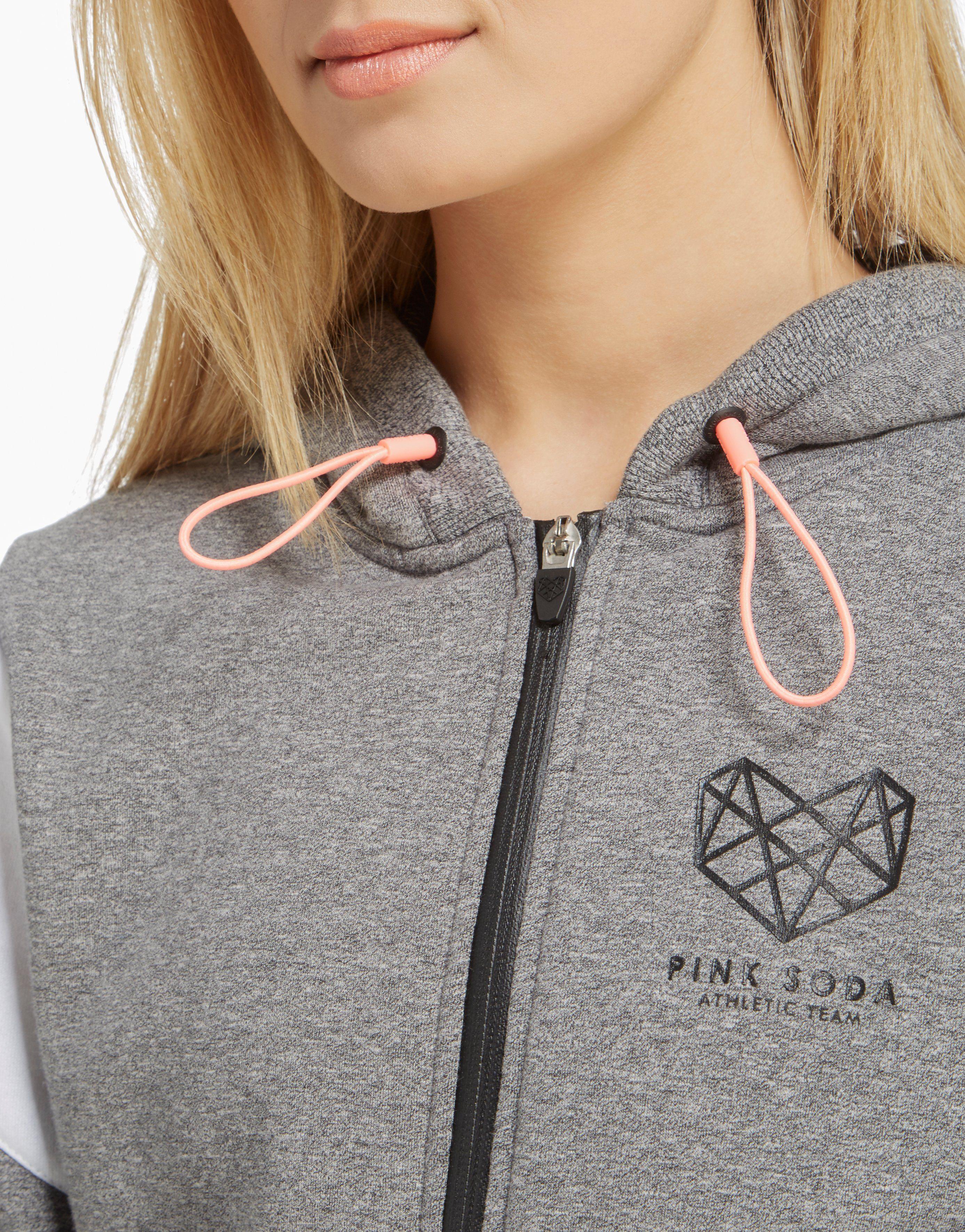 Pink Soda Sport Panel Zip Through Hoody