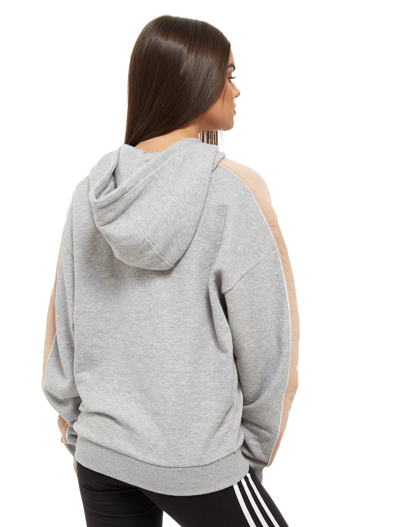adidas Originals Linear Halbrei脽verschluss Kapuzenpullover Grau