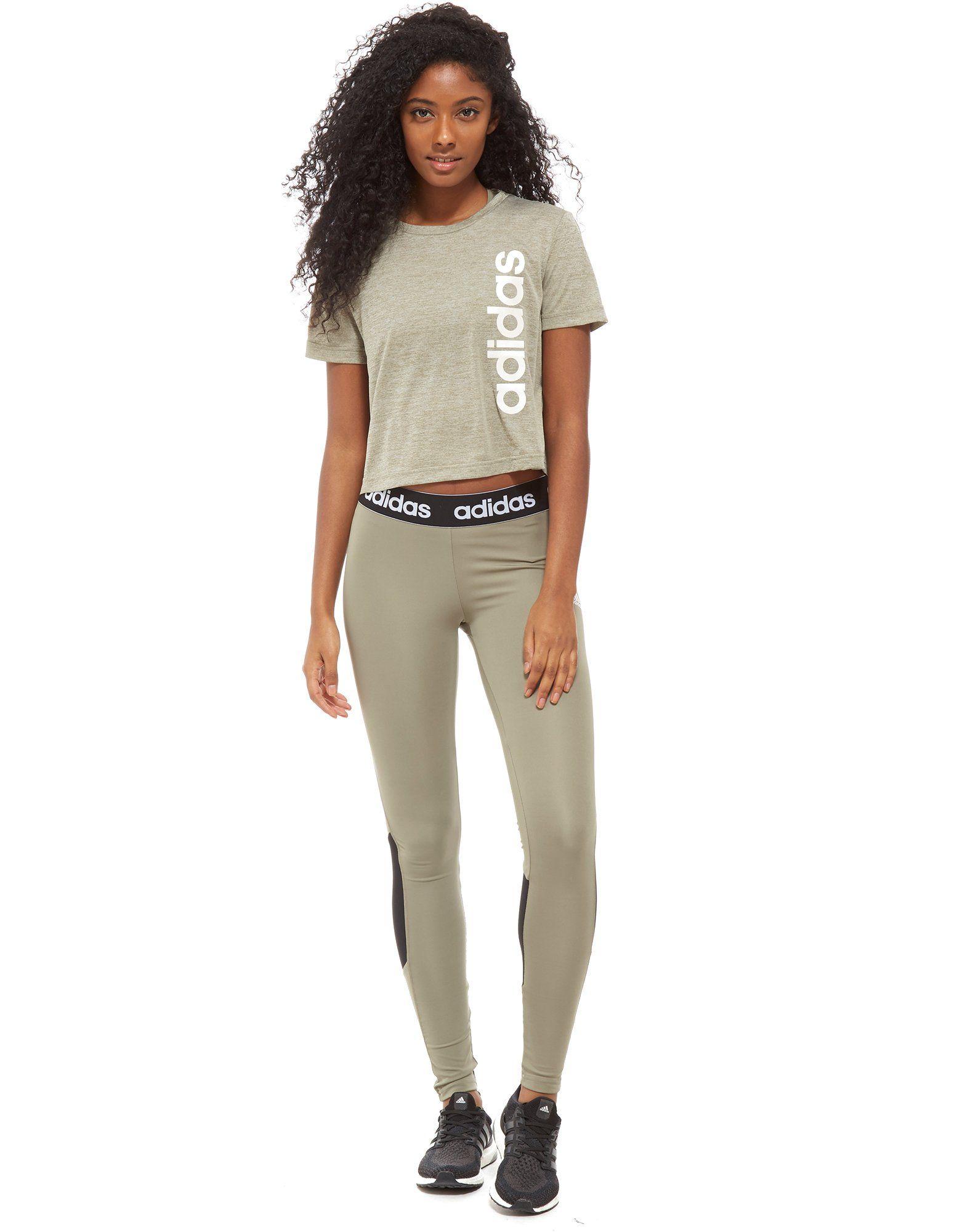 Günstig Kaufen Ausgezeichnet adidas Linear Crop T-Shirt Grün Freies Verschiffen Sehr Billig Freiraum 100% Original o7Allx