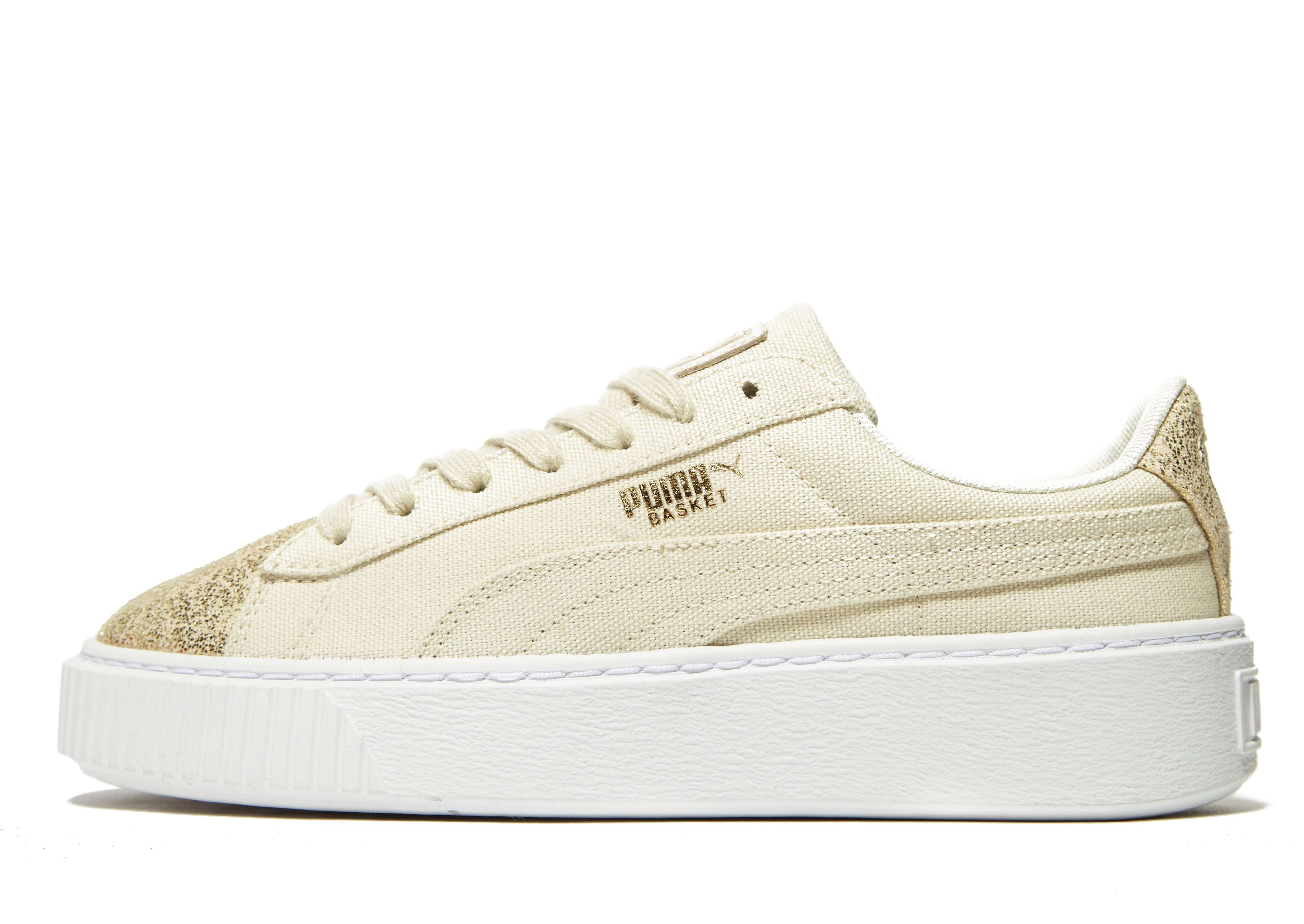 PUMA Basket Platform Canvas - Women's Classic Trainers - Brown 030210
