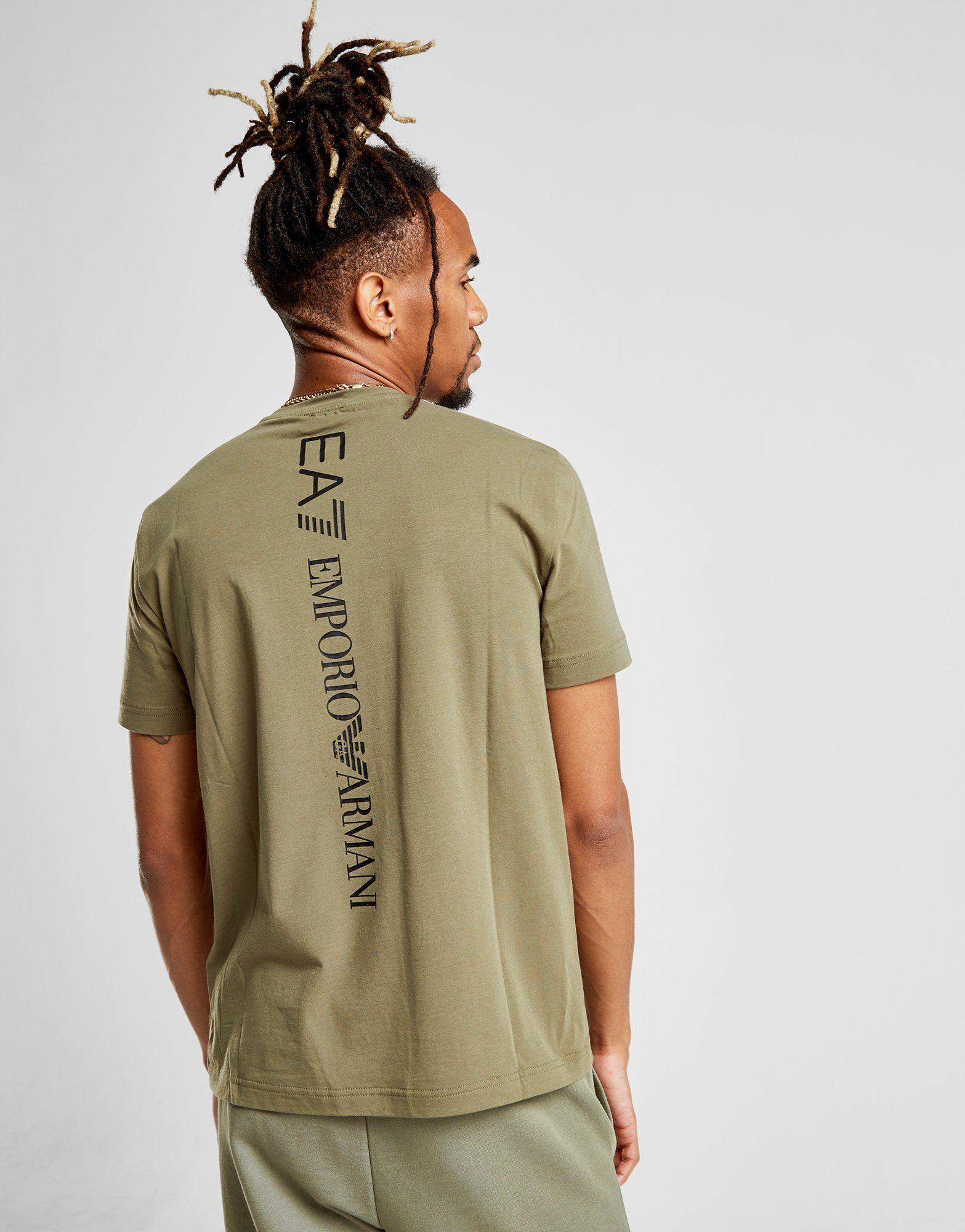 Emporio Armani EA7 Back Vertical Logo T-Shirt Gr眉n