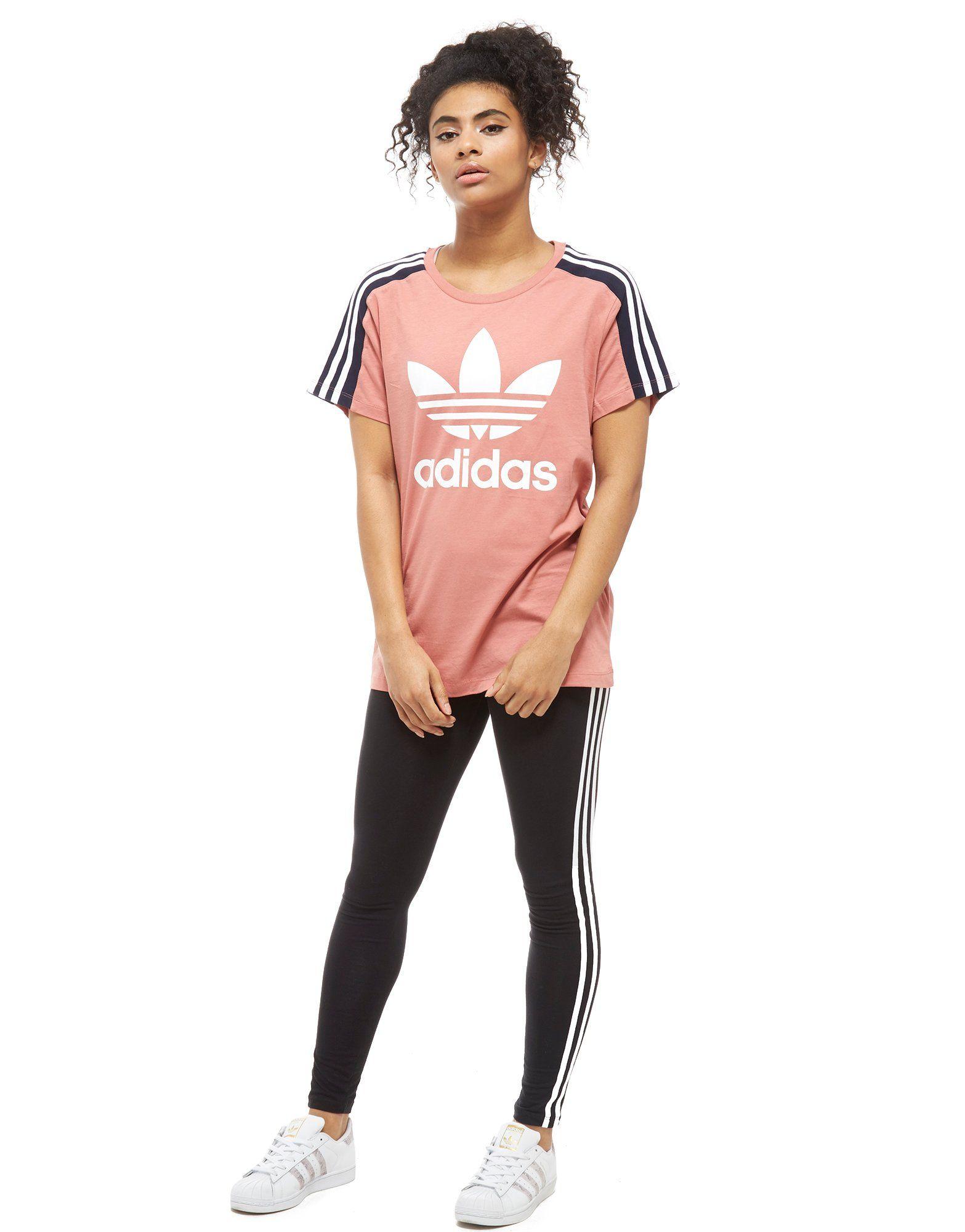 adidas Originals 3-Stripes Panel T-Shirt Pink-Marineblau Pink Verschleißfestigkeit Günstiger Preis Auslass Verkauf Günstig Kaufen Countdown-Paket Perfekt Günstig Online ClCouU