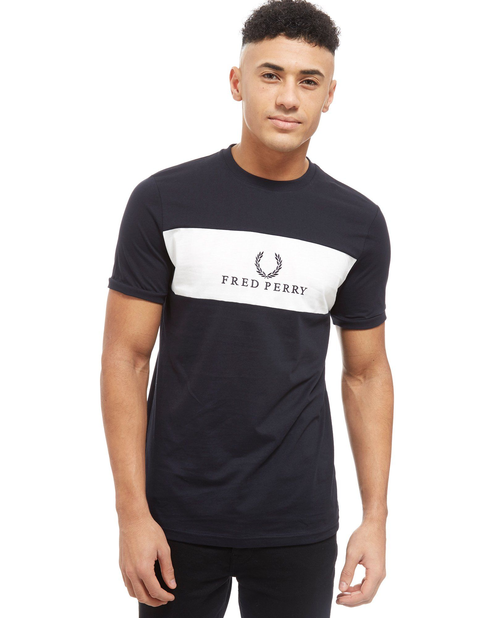 Fred Perry Sports Authentic Embroidered Panel T-Shirt ...