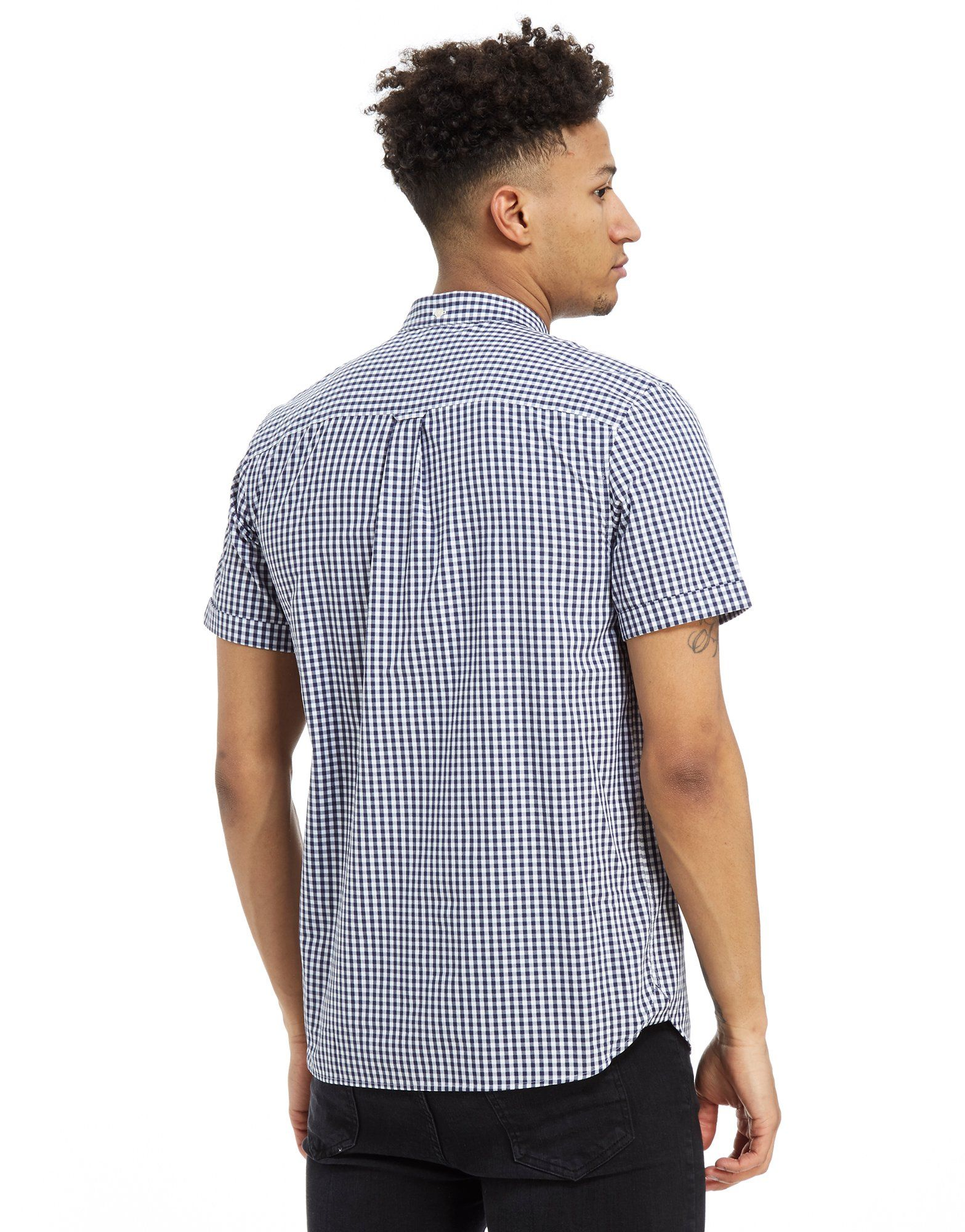 Lyle & Scott Short Sleeve Gingham Check Shirt Blau
