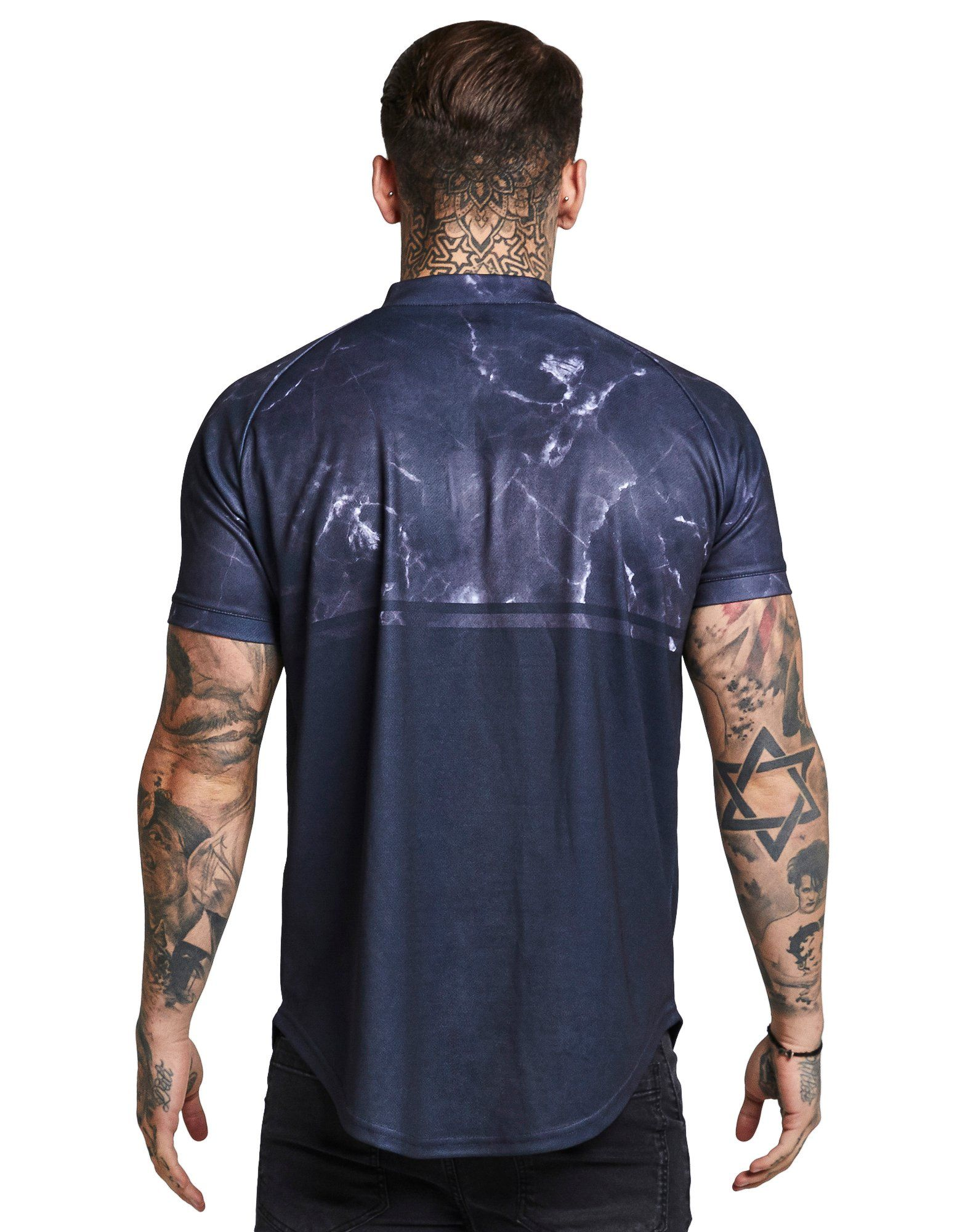 SikSilk Marble Zip Neck T-Shirt Lila