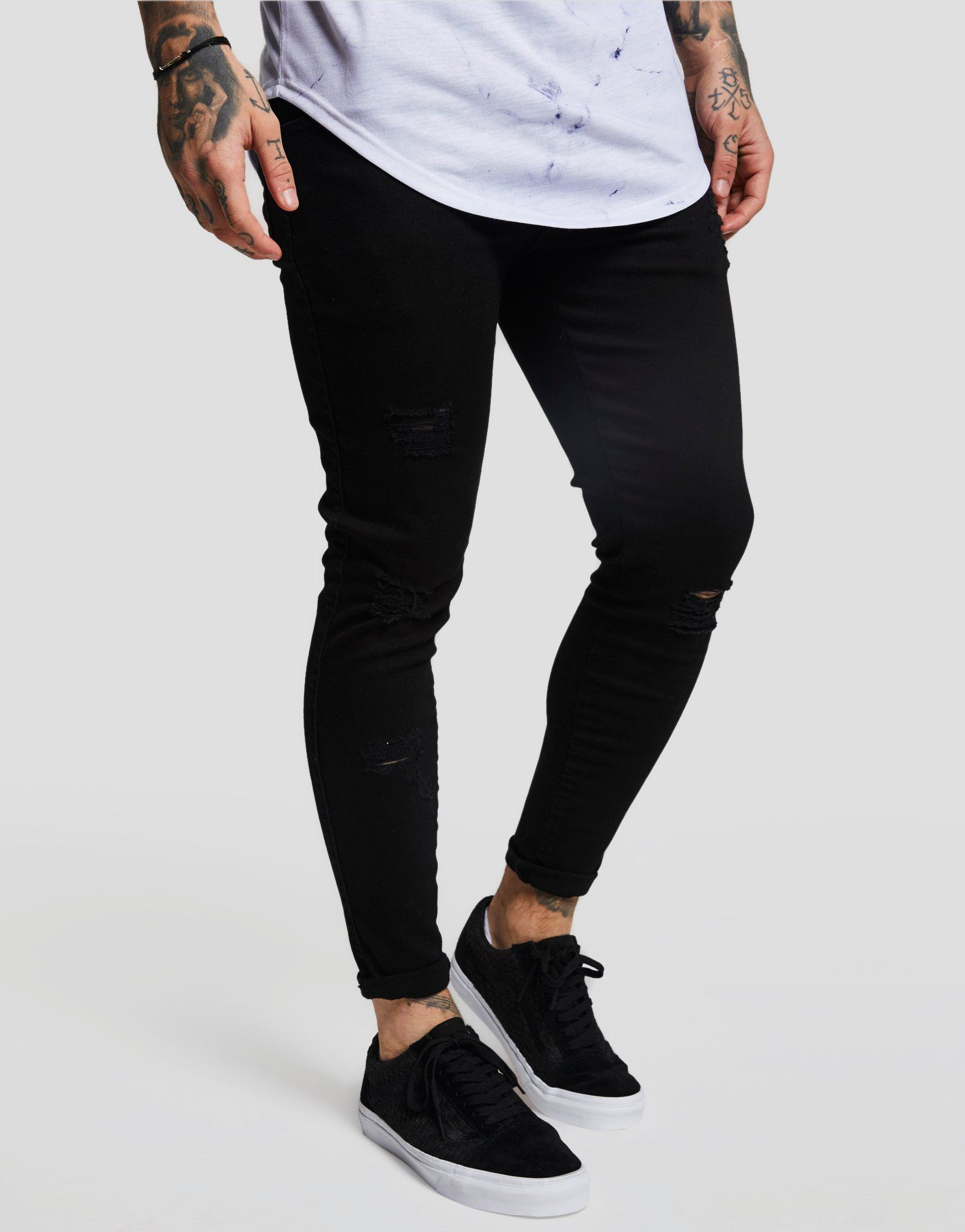 SikSilk Distressed Acid Wash Jeans Homme -