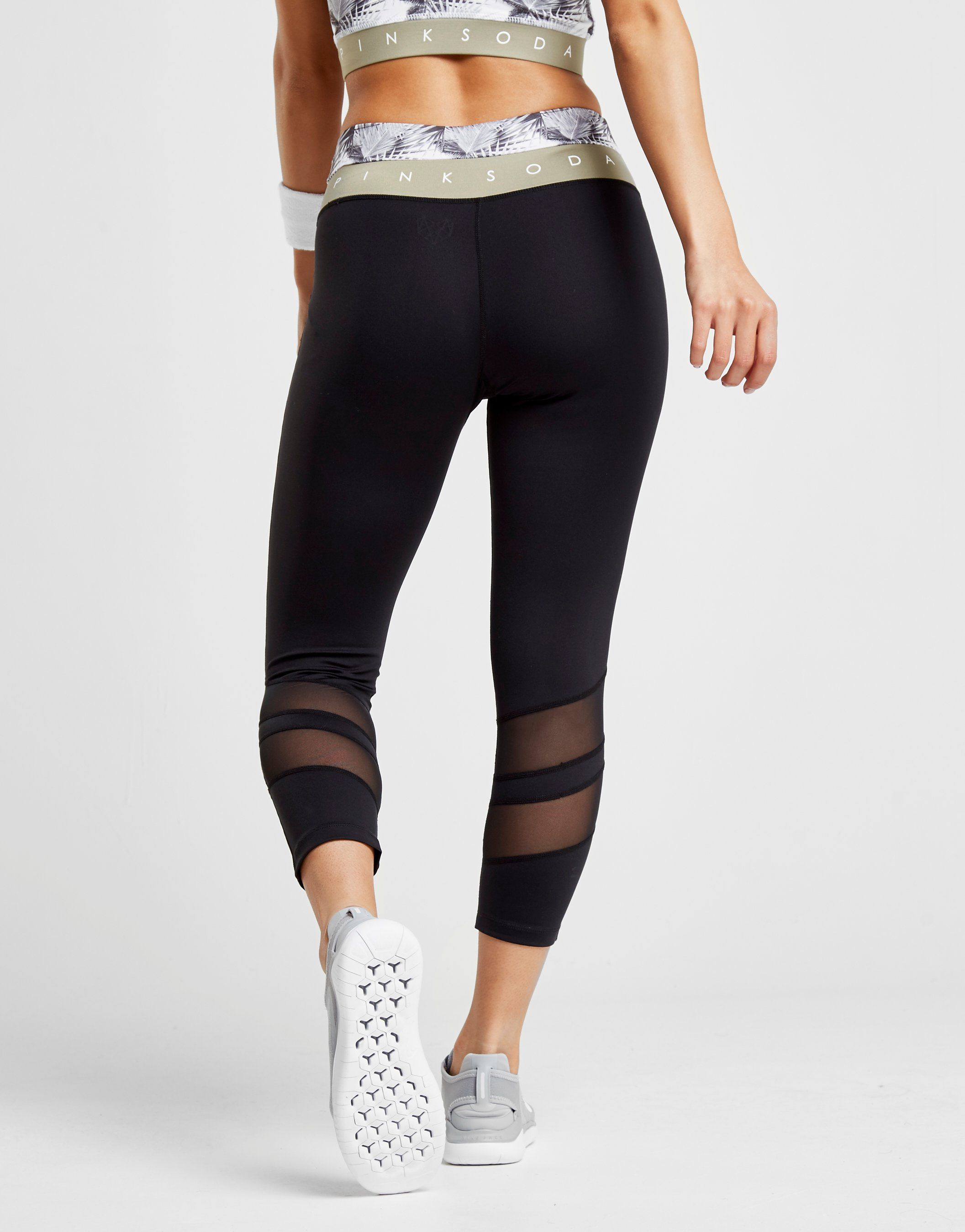 Pink Soda Sport Palm Panel Capri Leggings