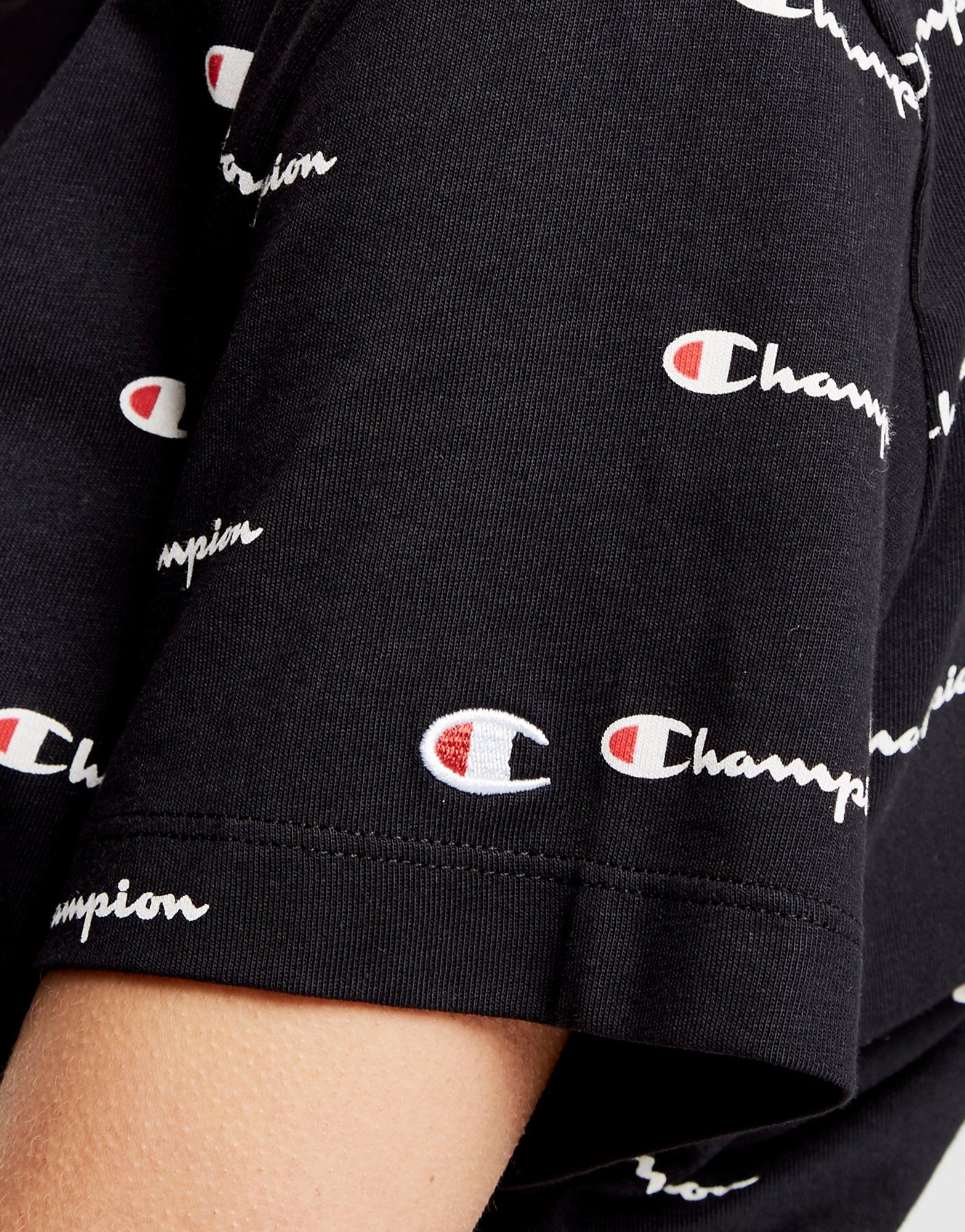 Champion Schwarz T Print Script All Champion Shirt Over All Boyfriend An00gqd