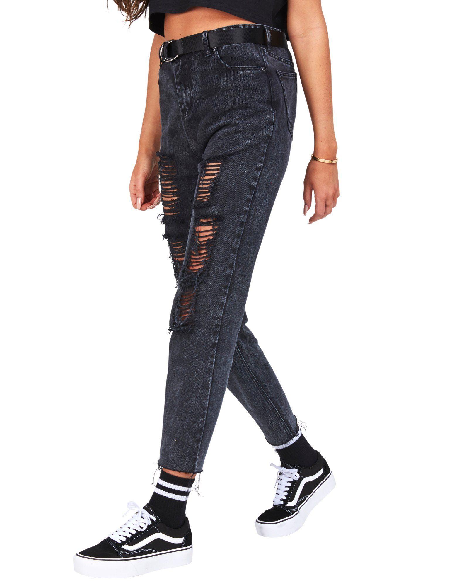 SikSilk Rip Mom Jeans