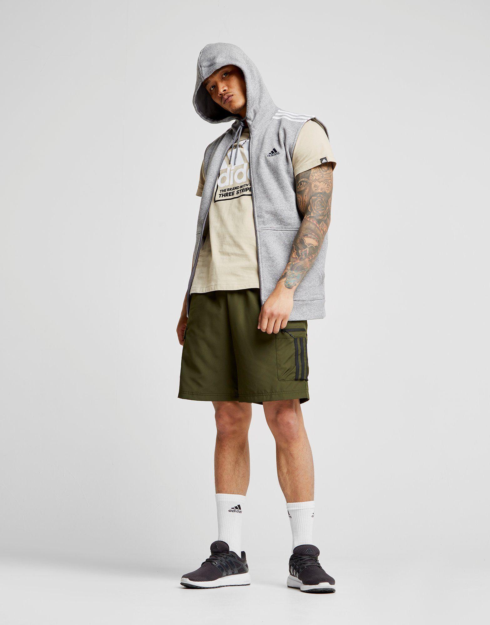 adidas Essential Sleeveless Hoodie Grau