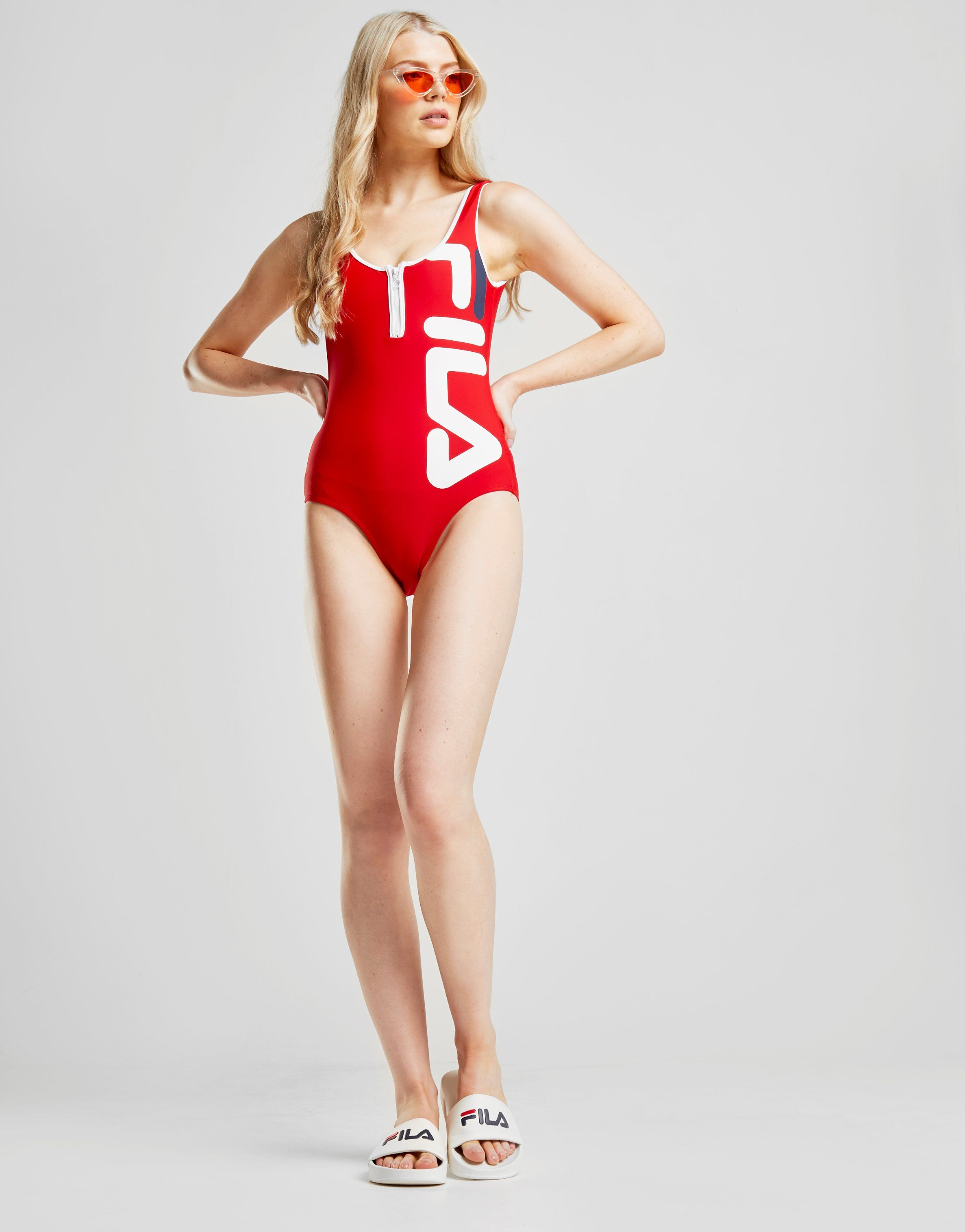 Fila Zip Swimsuit Rot