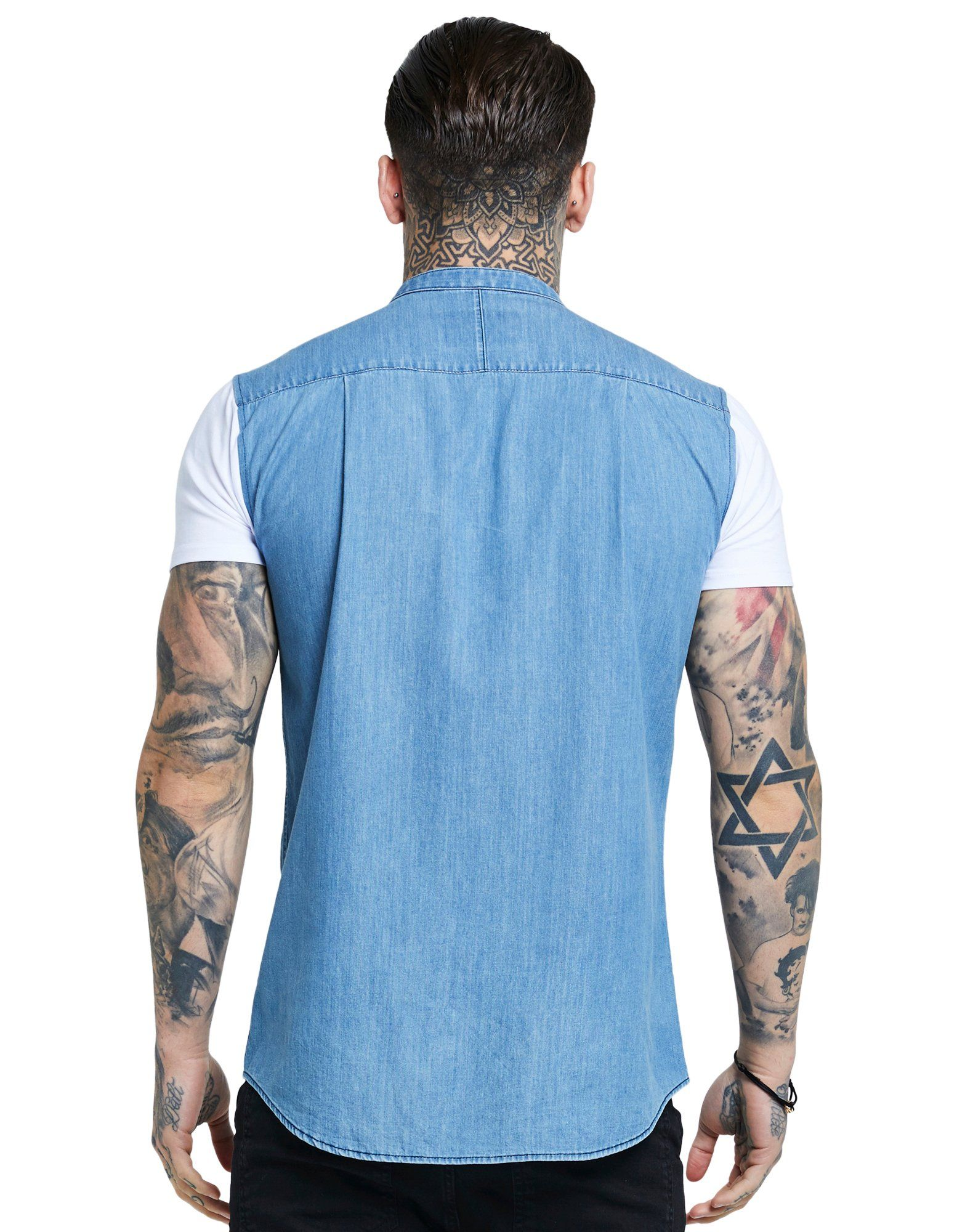 SikSilk Mid Denim Short Sleeve Shirt Blau