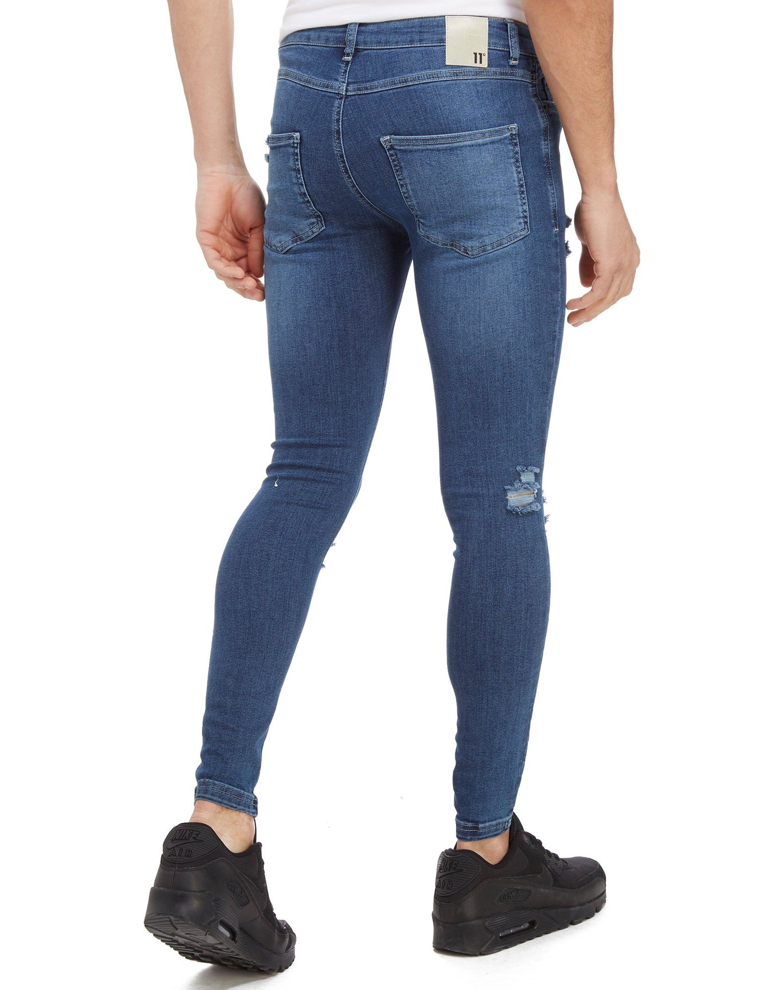 11 Degrees Gerissene Denim Jeans Blau