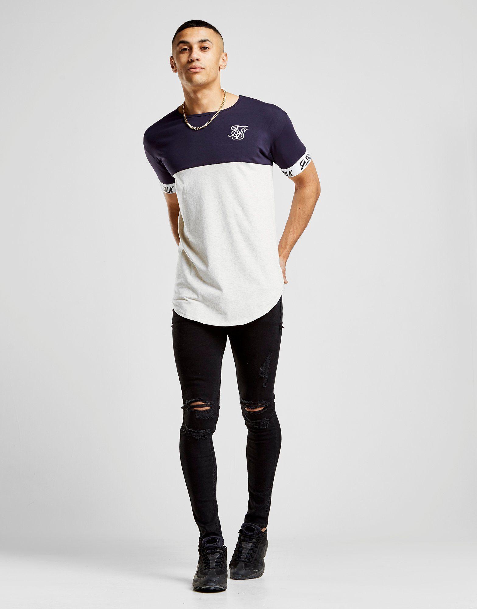 SikSilk T-shirt Tape Sleeve Colour Block Homme -