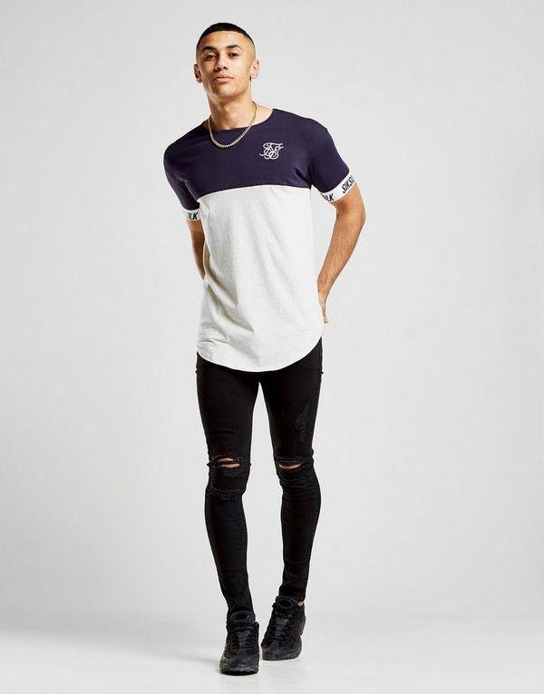Collections En Ligne Pas Cher Livraison Gratuite 100% Garanti SikSilk T-shirt Tape Sleeve Colour Block Homme - Magasin En Ligne De Sortie Vente recommander EIDB3