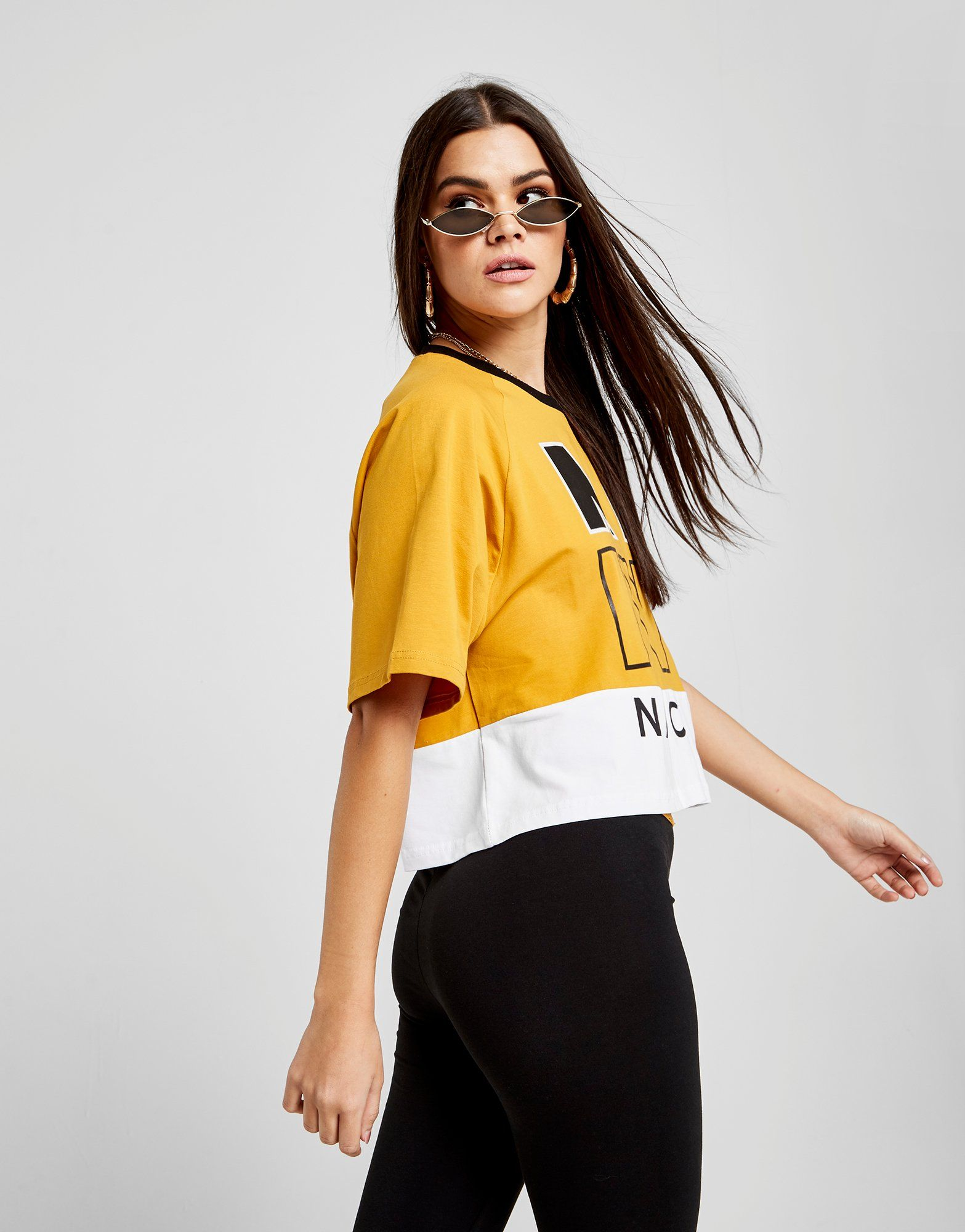 Nicce Crop Orange Block Colour Logo Colour T Shirt Nicce Block Logo p60pqvrx
